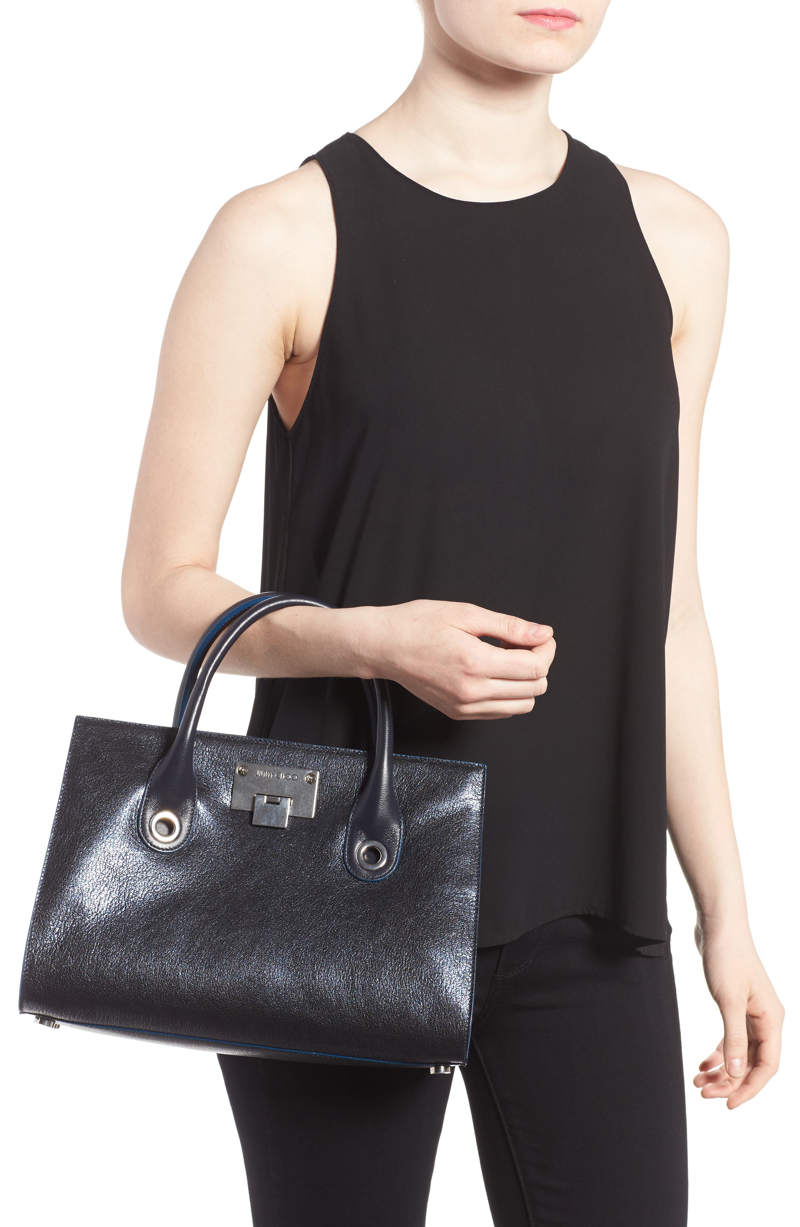 Medium Riley Metallic Leather Tote,                             Alternate thumbnail 2, color,                             Navy