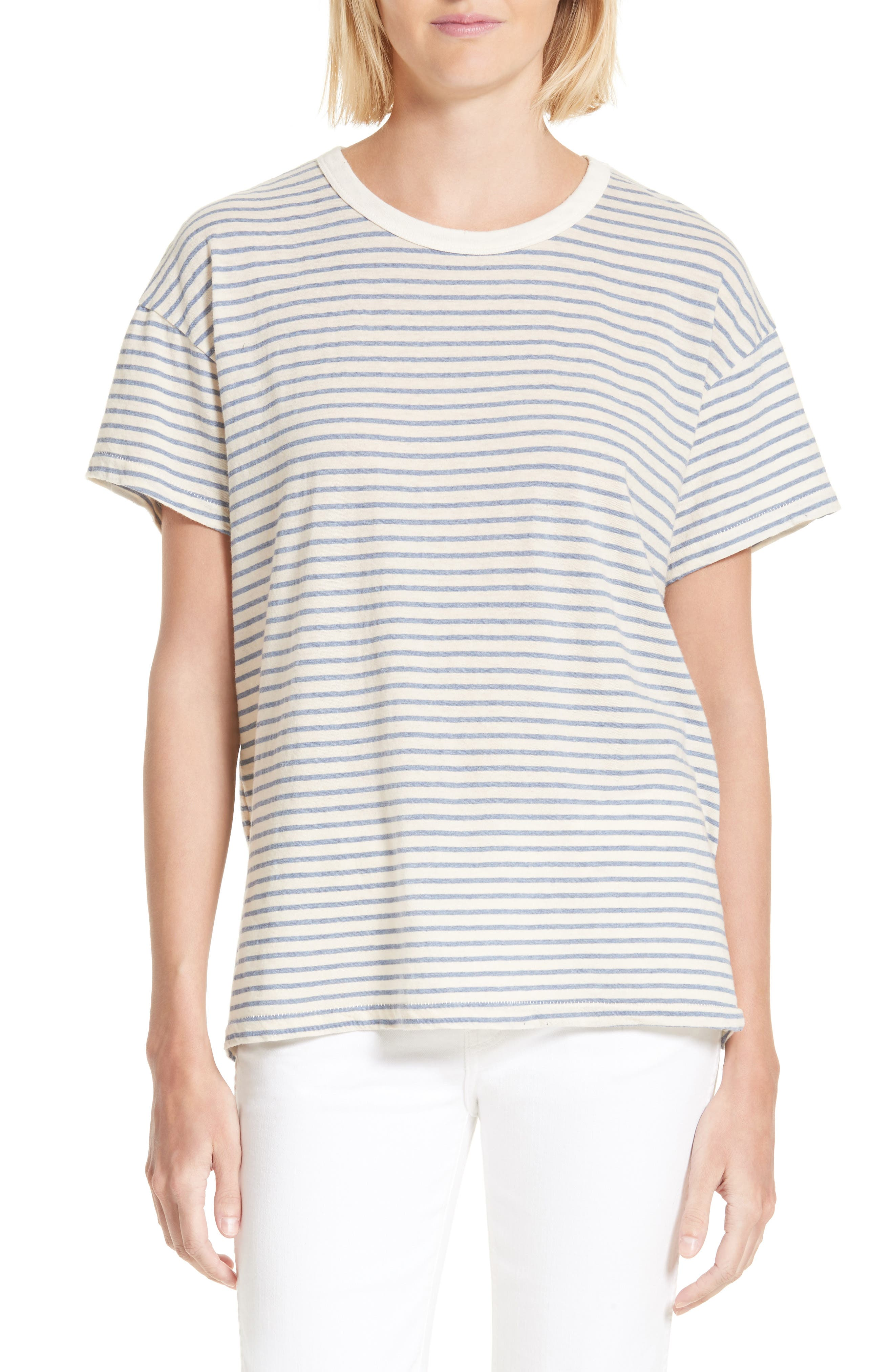 The Boxy Crew Tee,                         Main,                         color, Blue Stripe