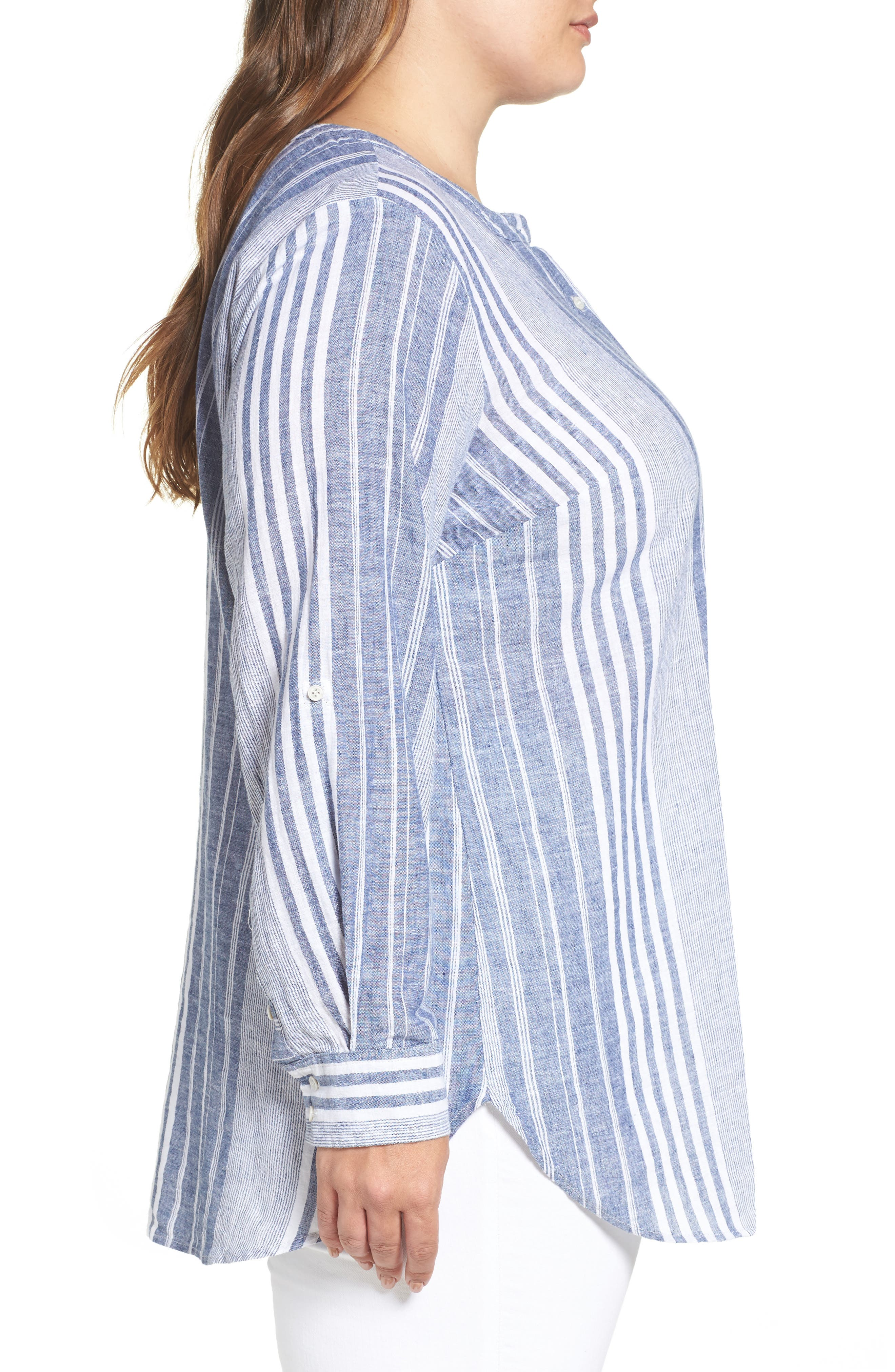 Alternate Image 3  - Two by Vince Camuto Variegated Stripe Linen Blend Tunic (Plus Size)