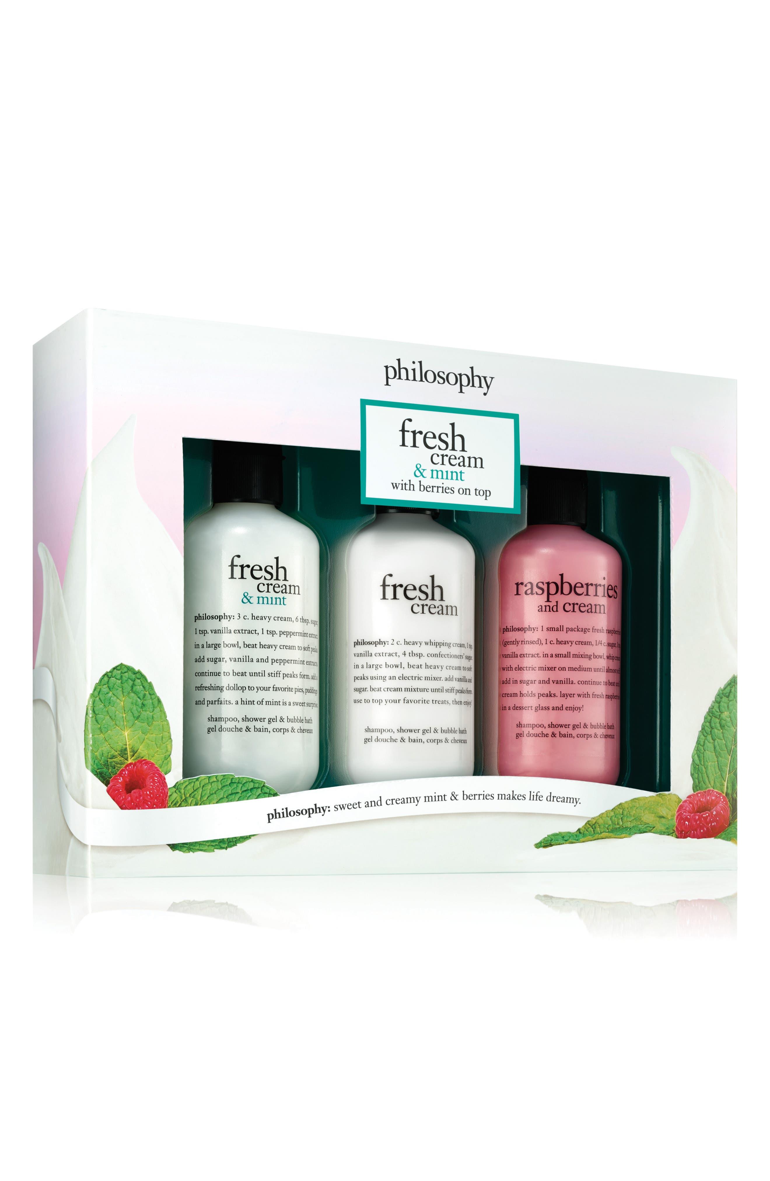 philosophy fresh cream shampoo, shower gel & bubble bath trio
