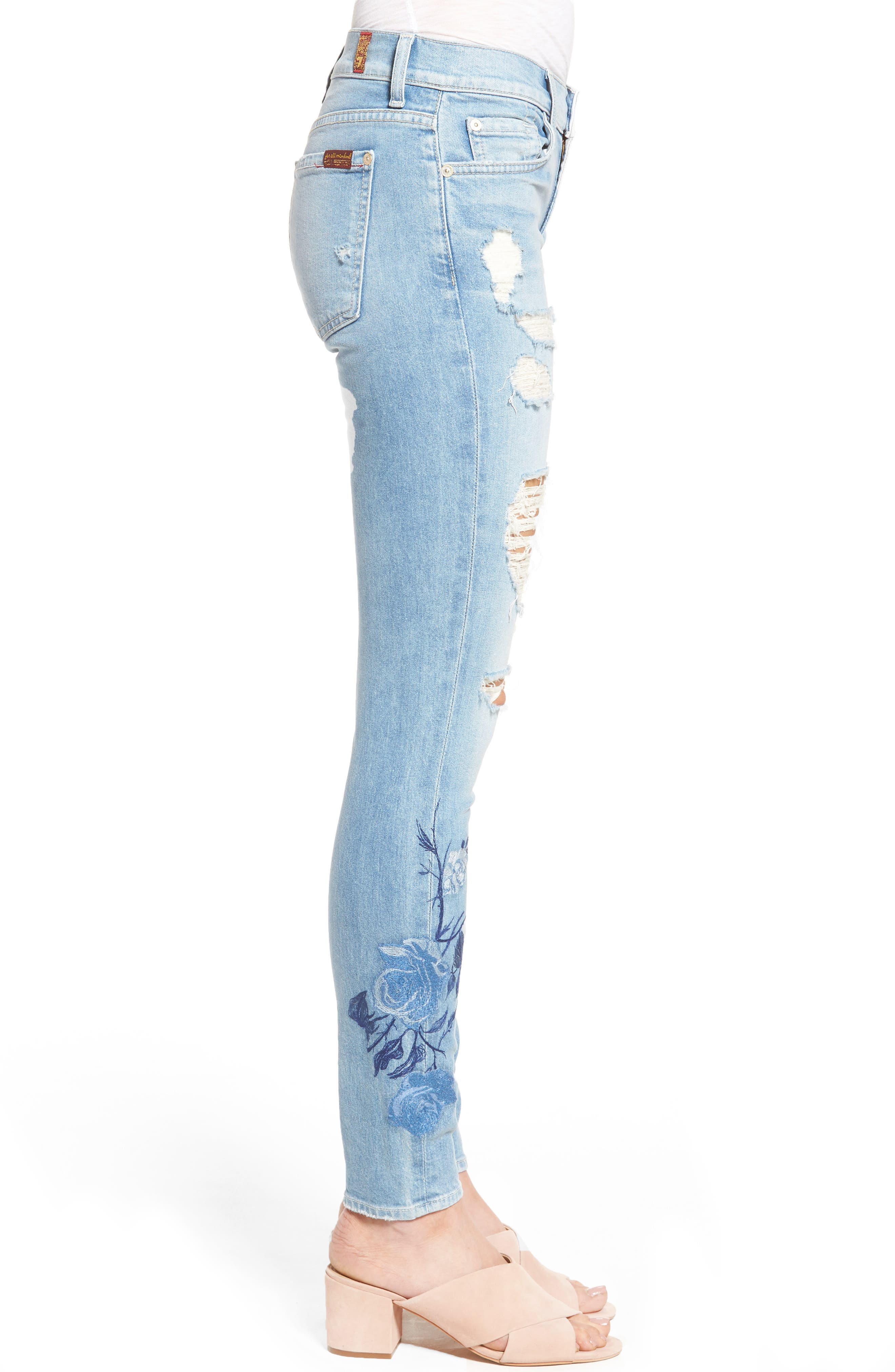 Alternate Image 3  - 7 For All Mankind® Embroidered Ankle Skinny Jeans (Vintage Air Light)