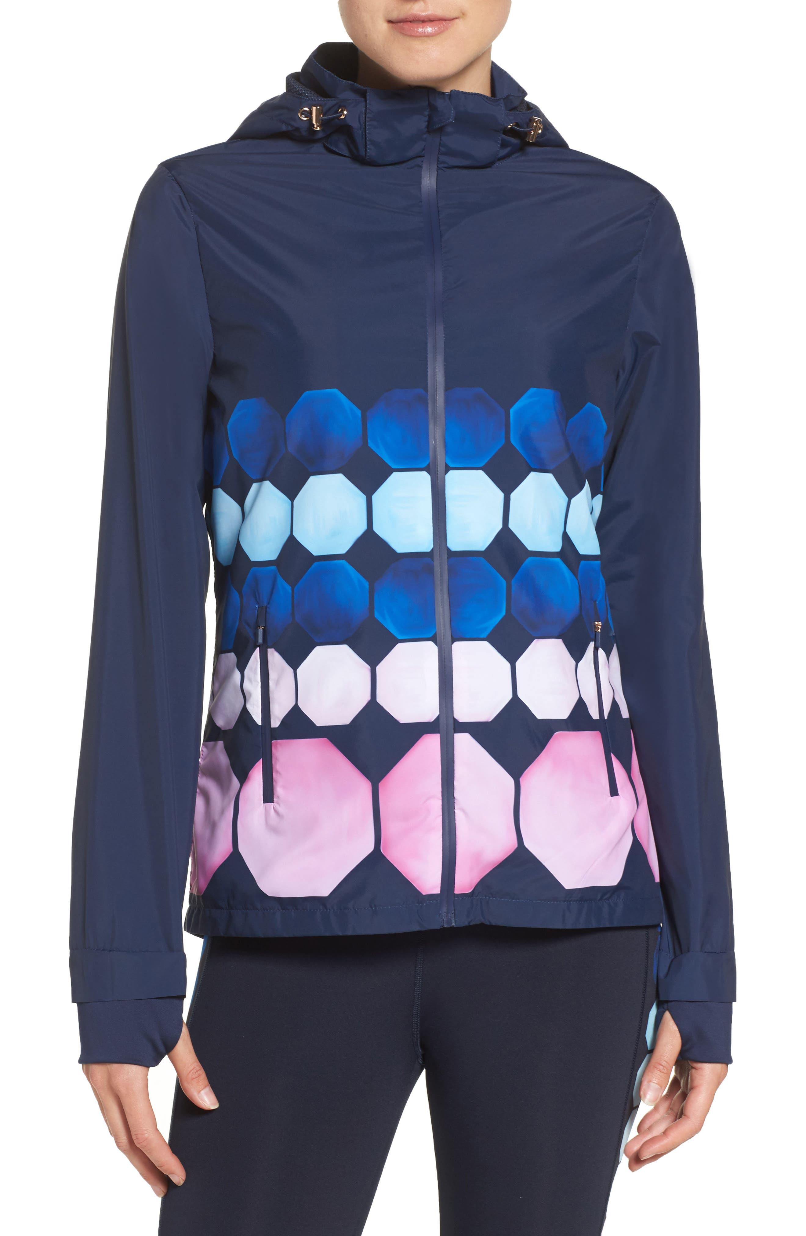 Marina Mosaic Hooded Jacket,                         Main,                         color, Navy