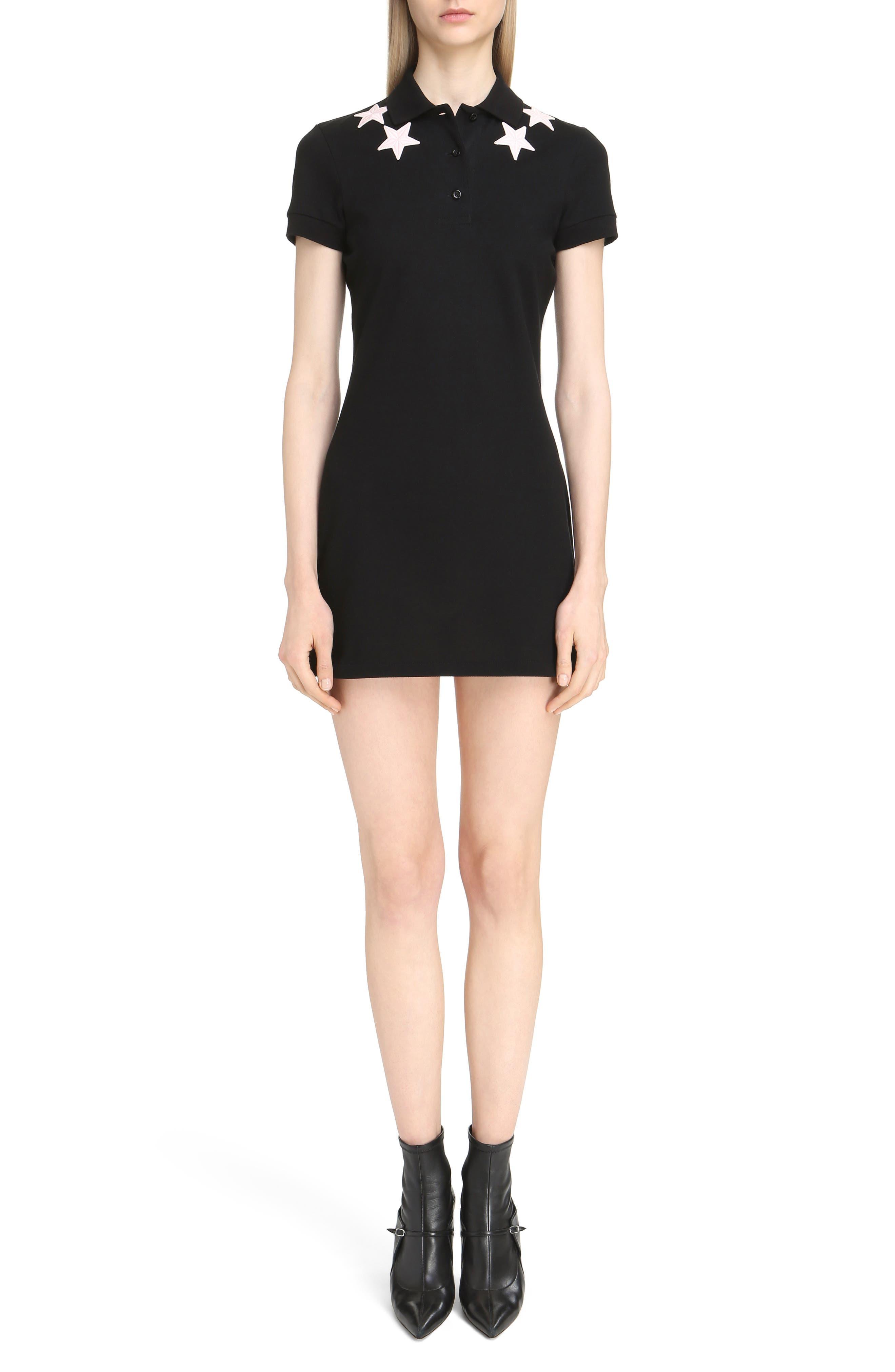 Star Embellished Polo Dress,                         Main,                         color, Black/ Pink