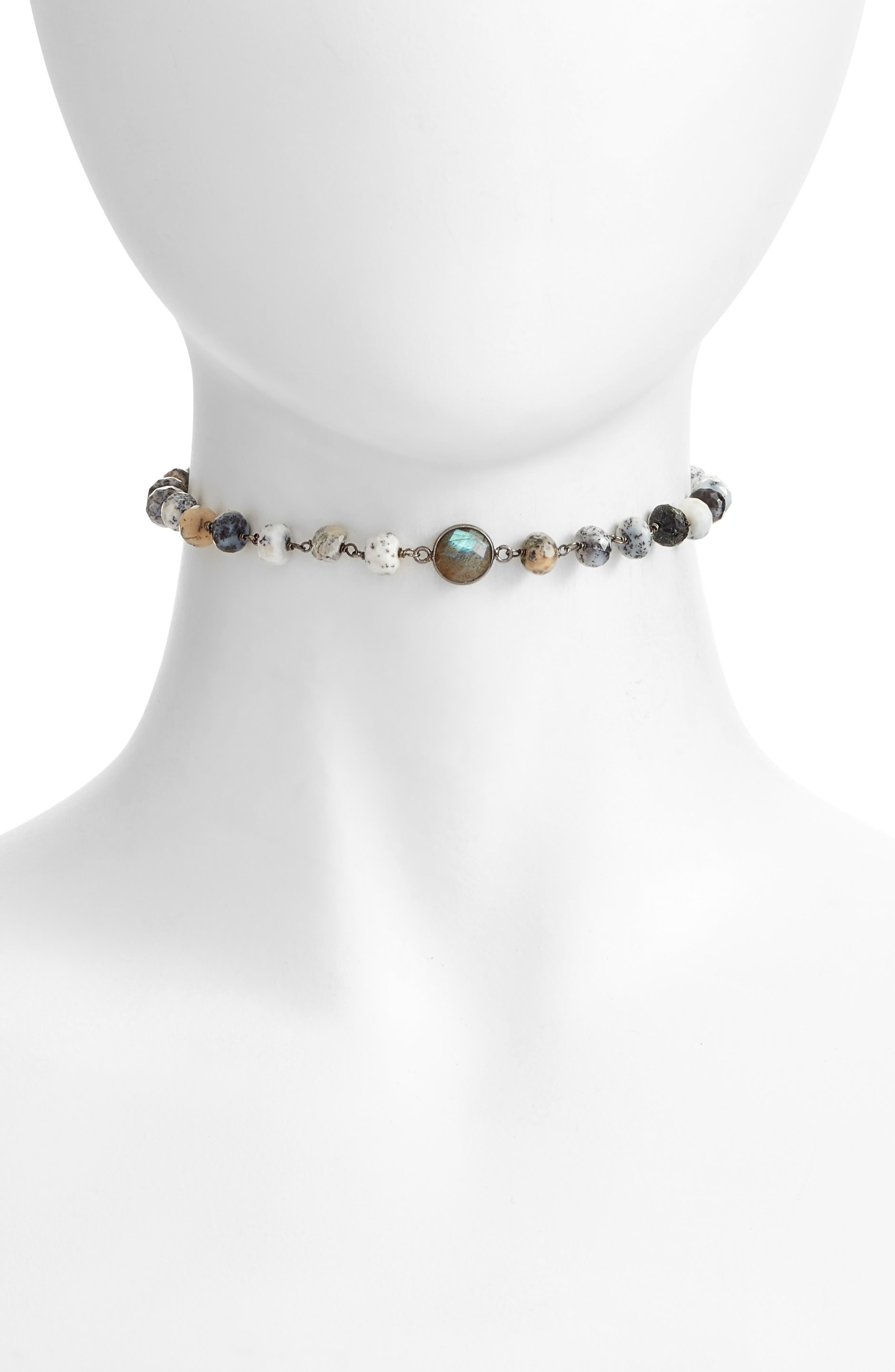 Libi Grand Choker Necklace,                         Main,                         color, Dendrite Opal / Labradorite
