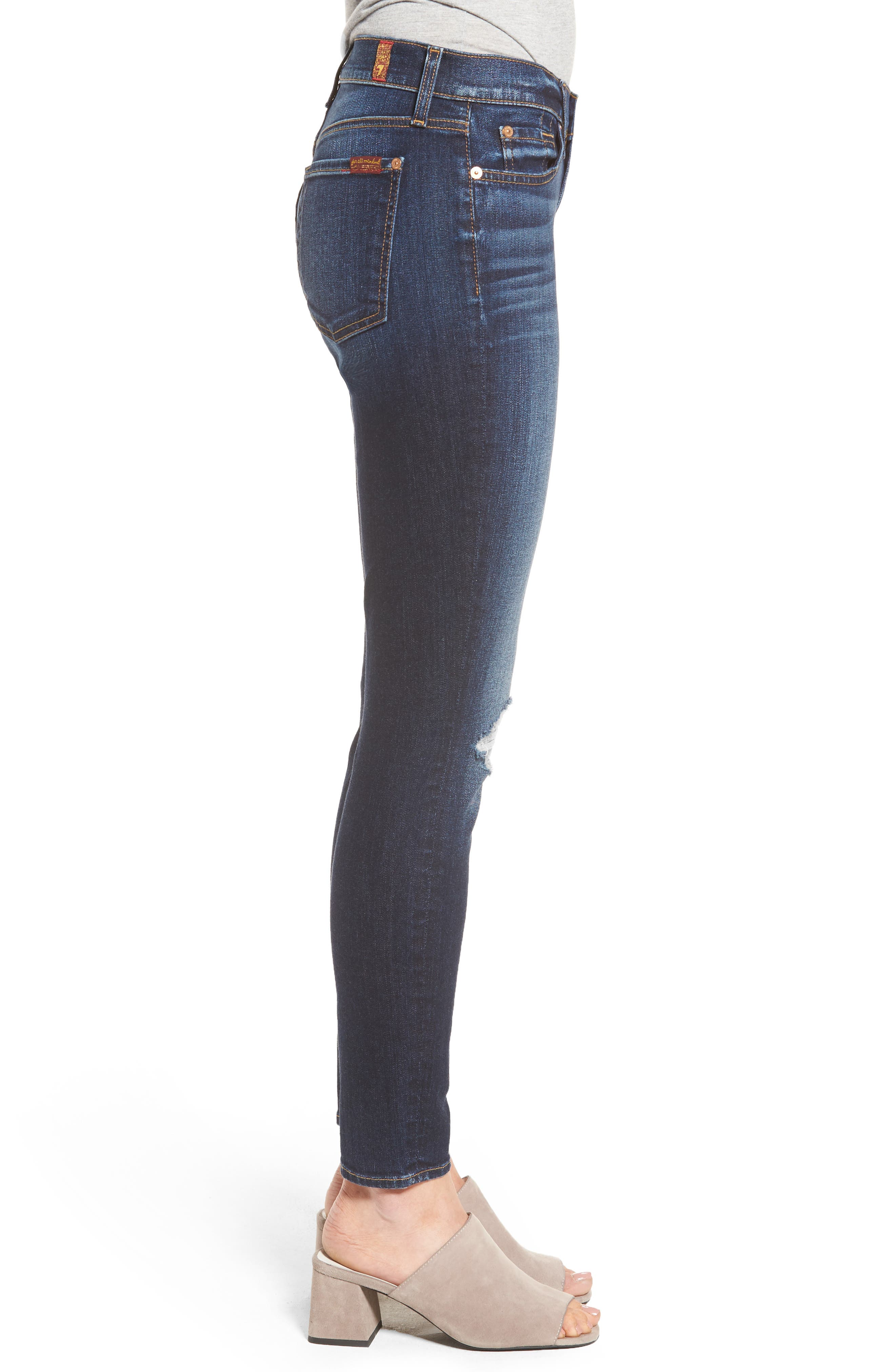 Alternate Image 3  - 7 For All Mankind® Ankle Skinny Jeans (Dark Paradise)