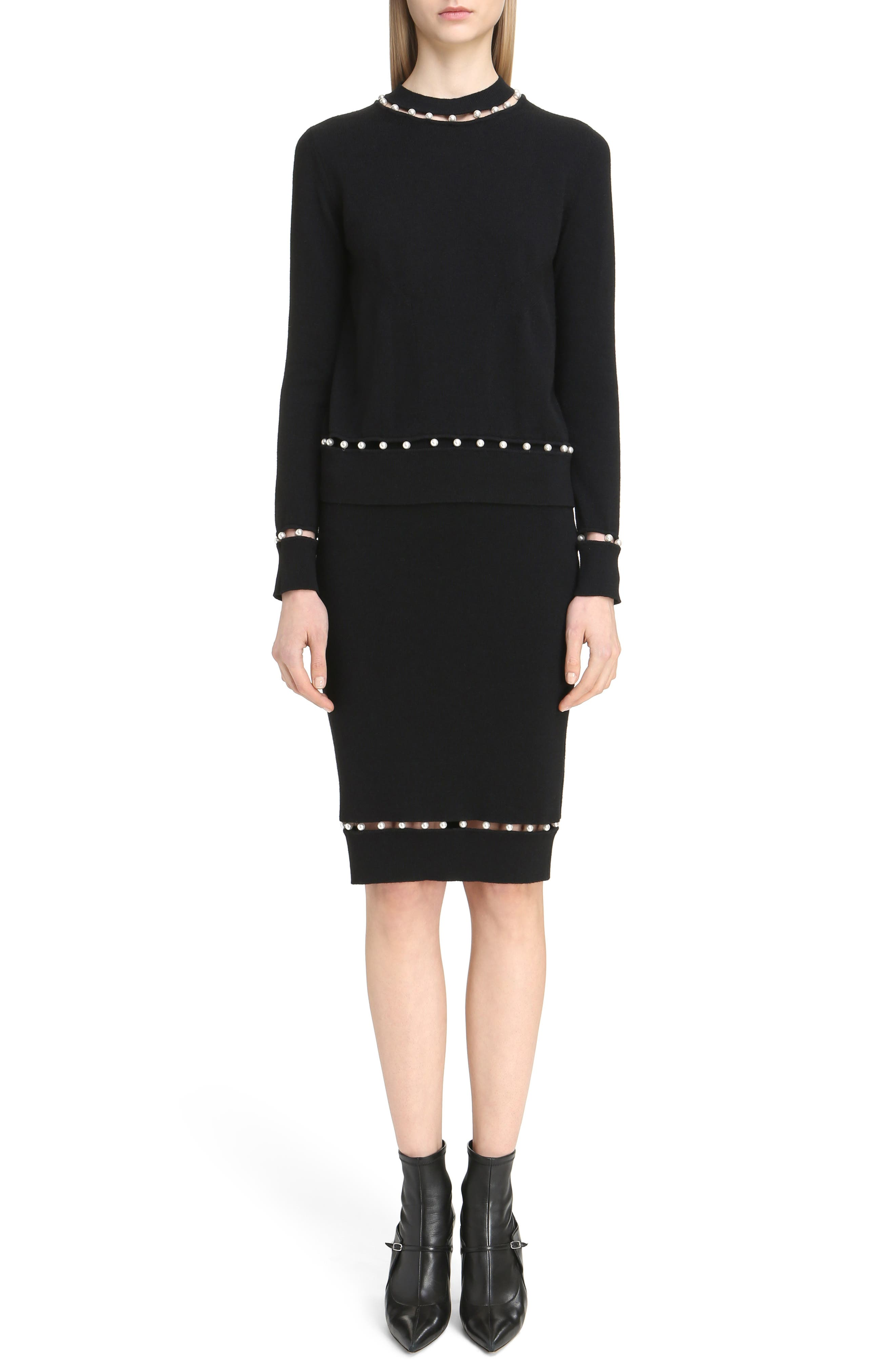 Imitation Pearl Inset Wool Blend Sweater,                             Alternate thumbnail 6, color,                             Black