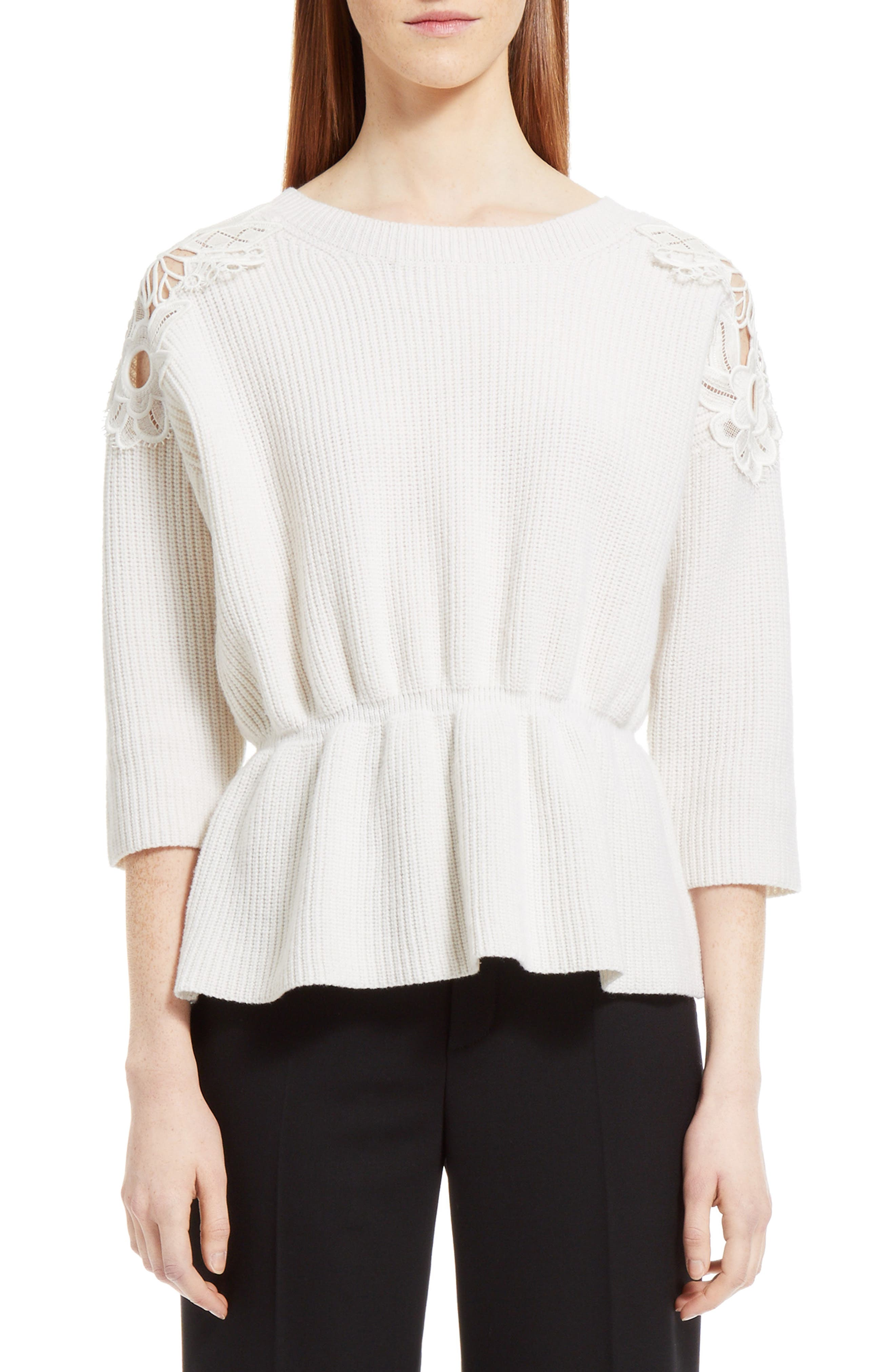 Lace Trim Merino Wool & Cashmere Sweater,                         Main,                         color, Milk