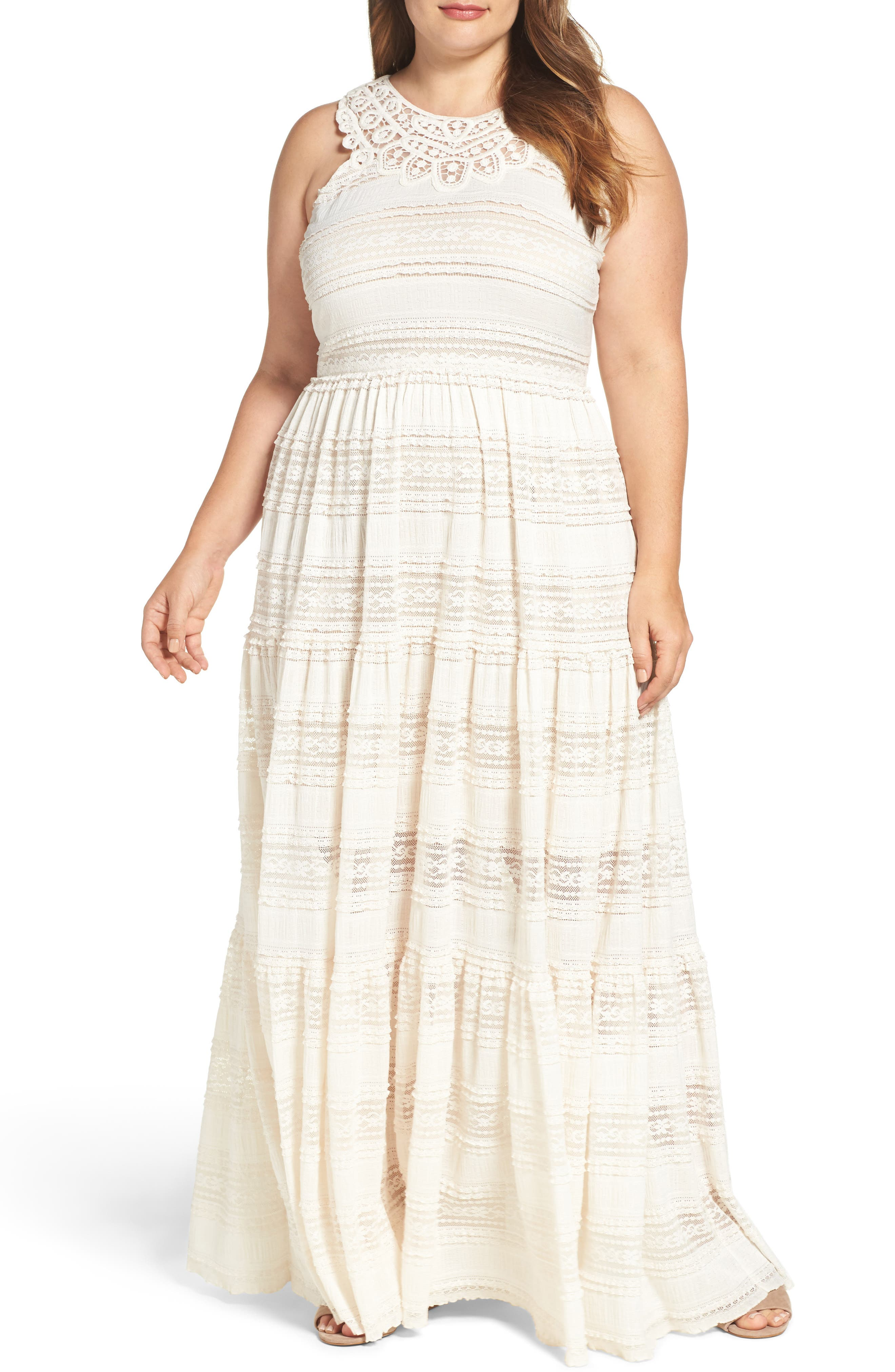 Eliza J Tiered Lace Maxi Dress (Plus Size)