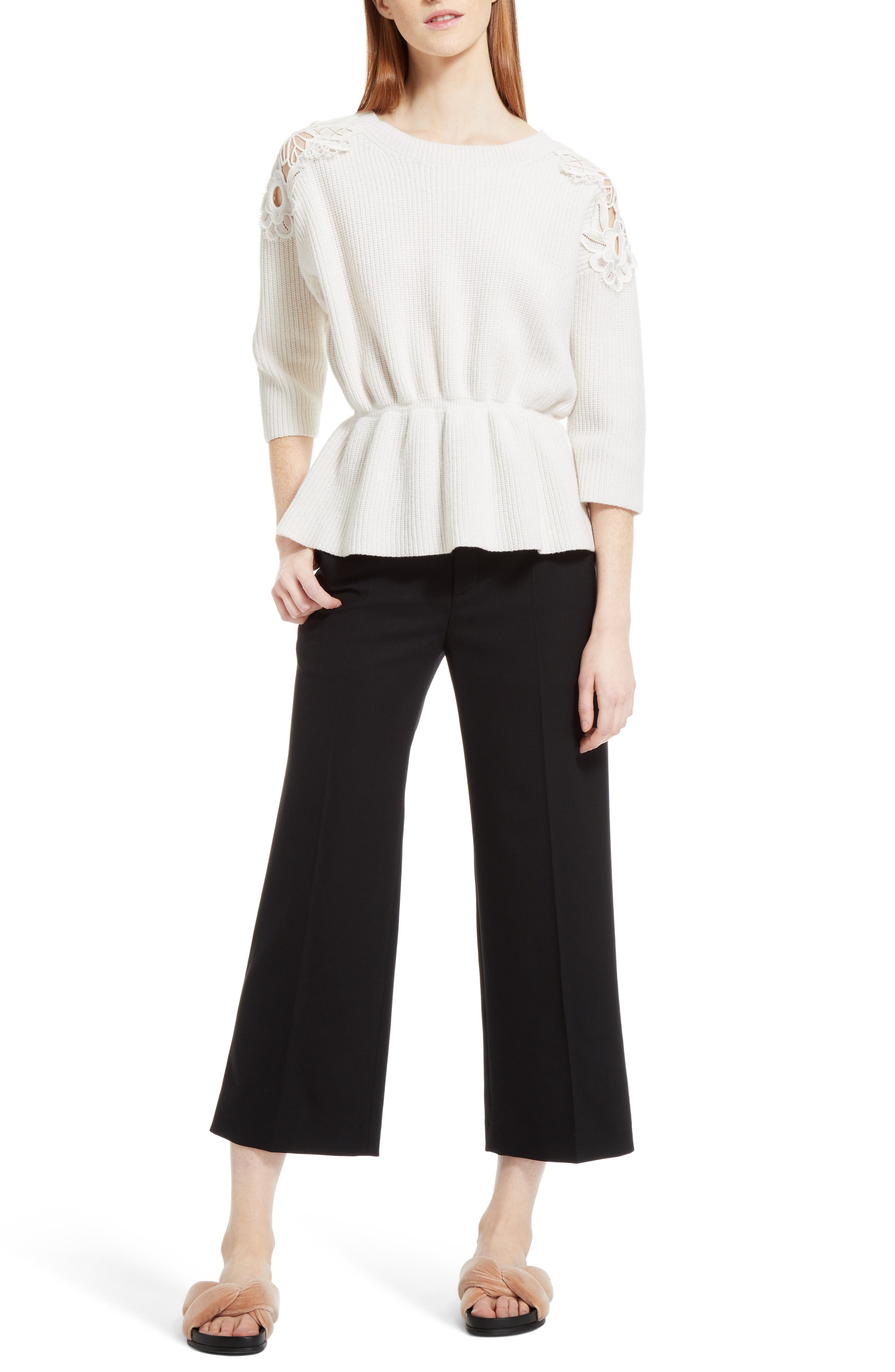 Lace Trim Merino Wool & Cashmere Sweater,                             Alternate thumbnail 7, color,                             Milk
