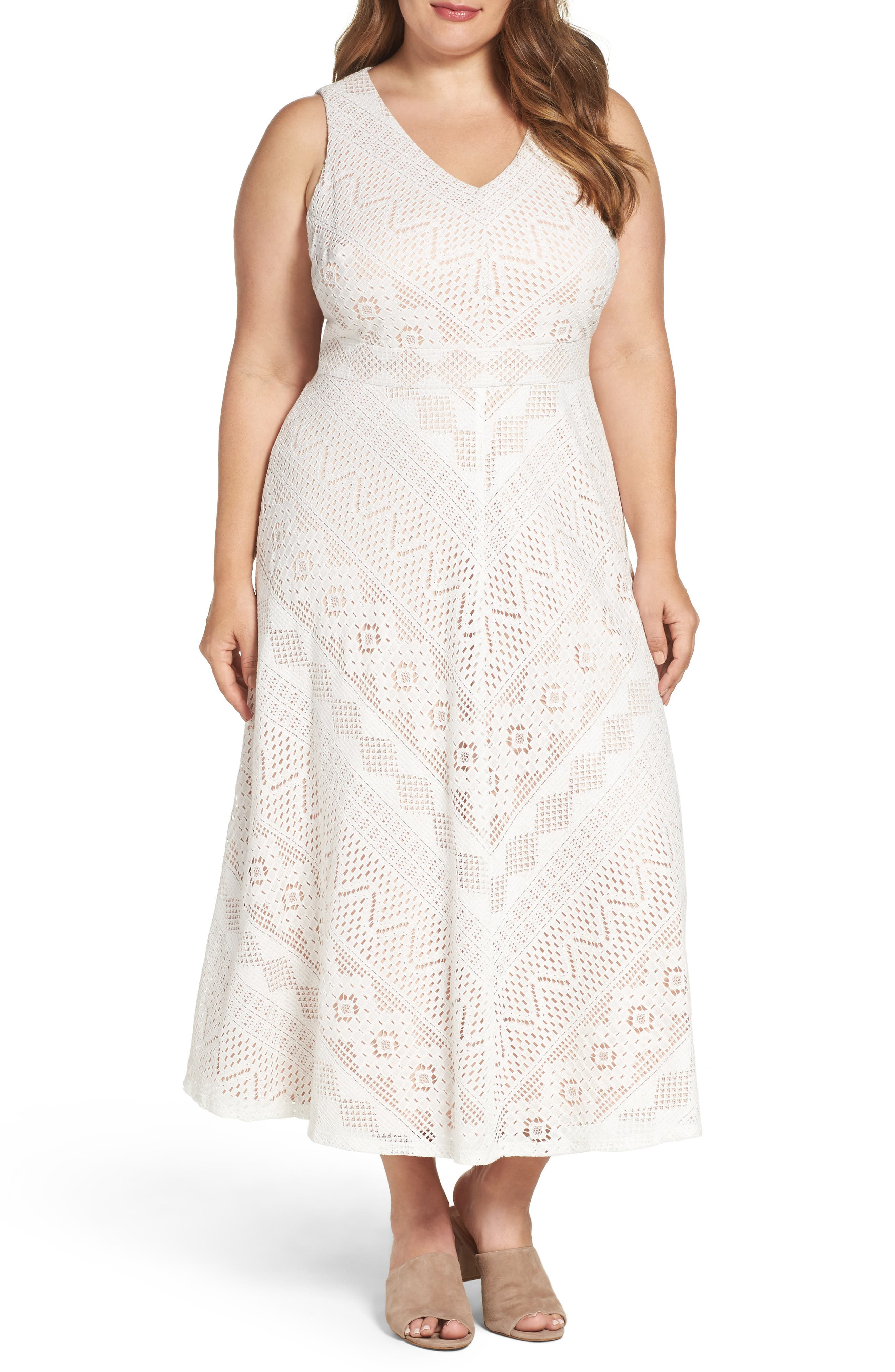 Alternate Image 1 Selected - Vince Camuto Mitered Lace Midi Dress (Plus Size)