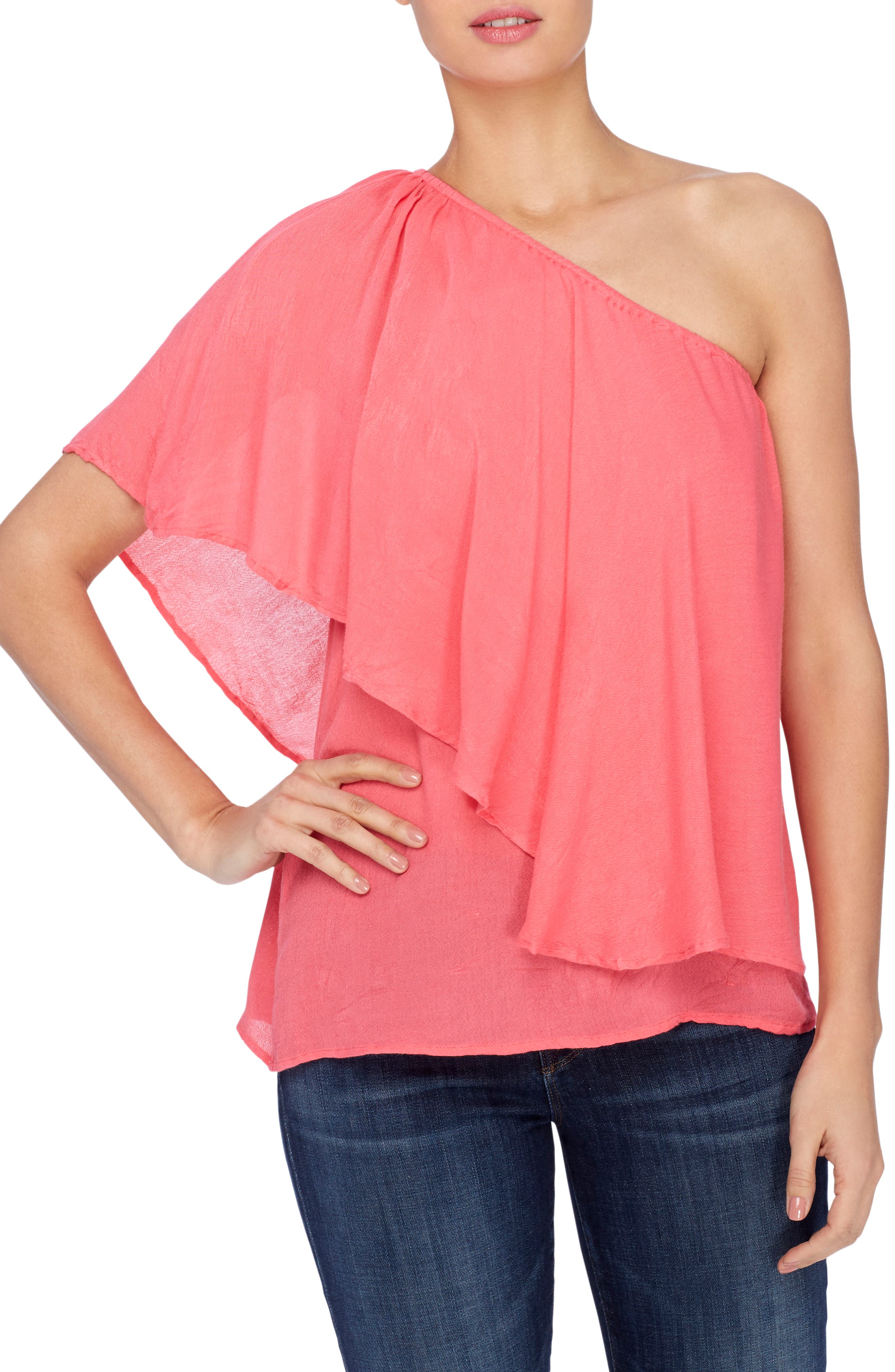 Magritte One-Shoulder Top,                         Main,                         color, Azalea Pink