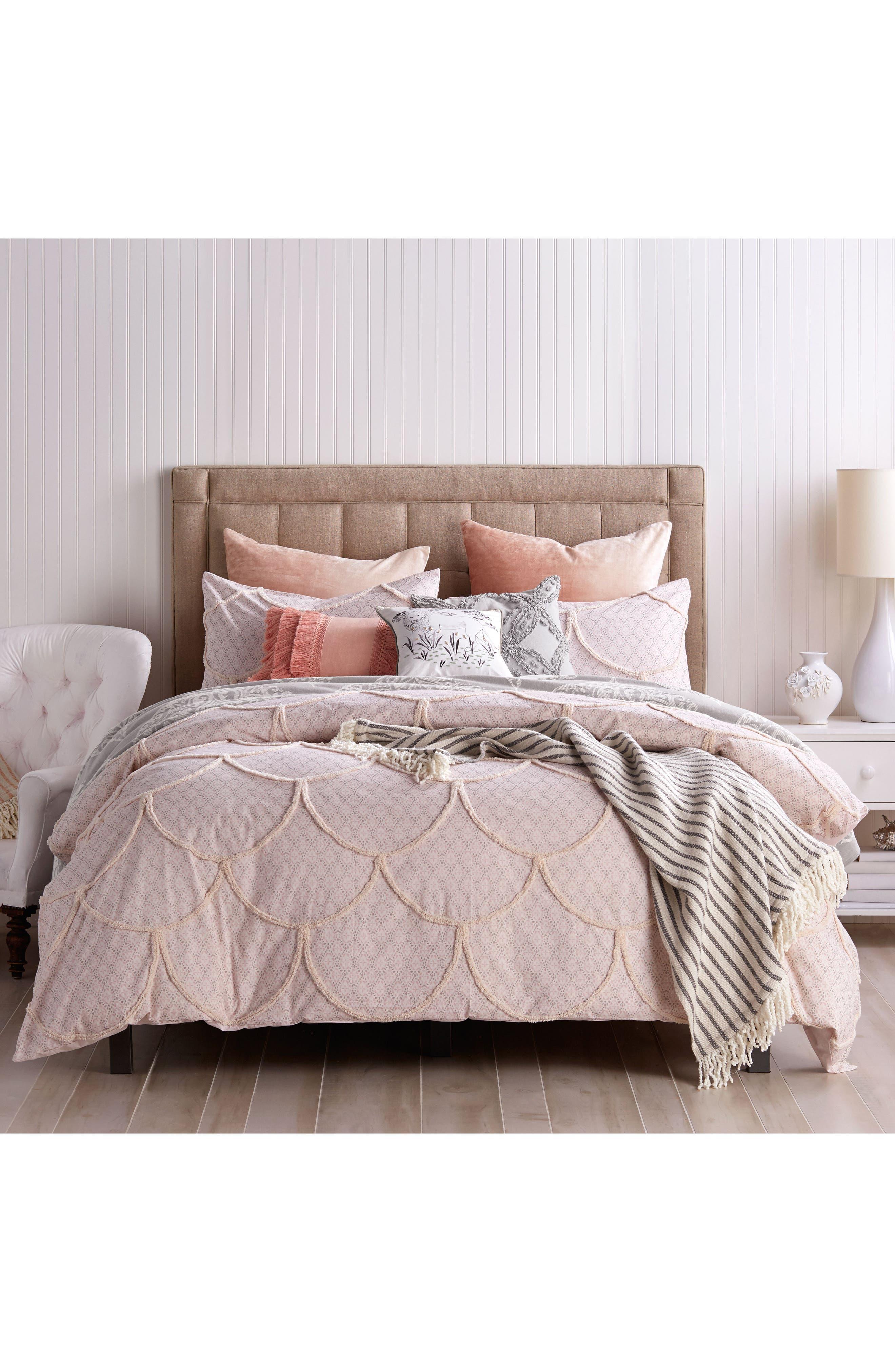 Chenille Scallop Comforter & Sham Set,                             Main thumbnail 1, color,                             Blush
