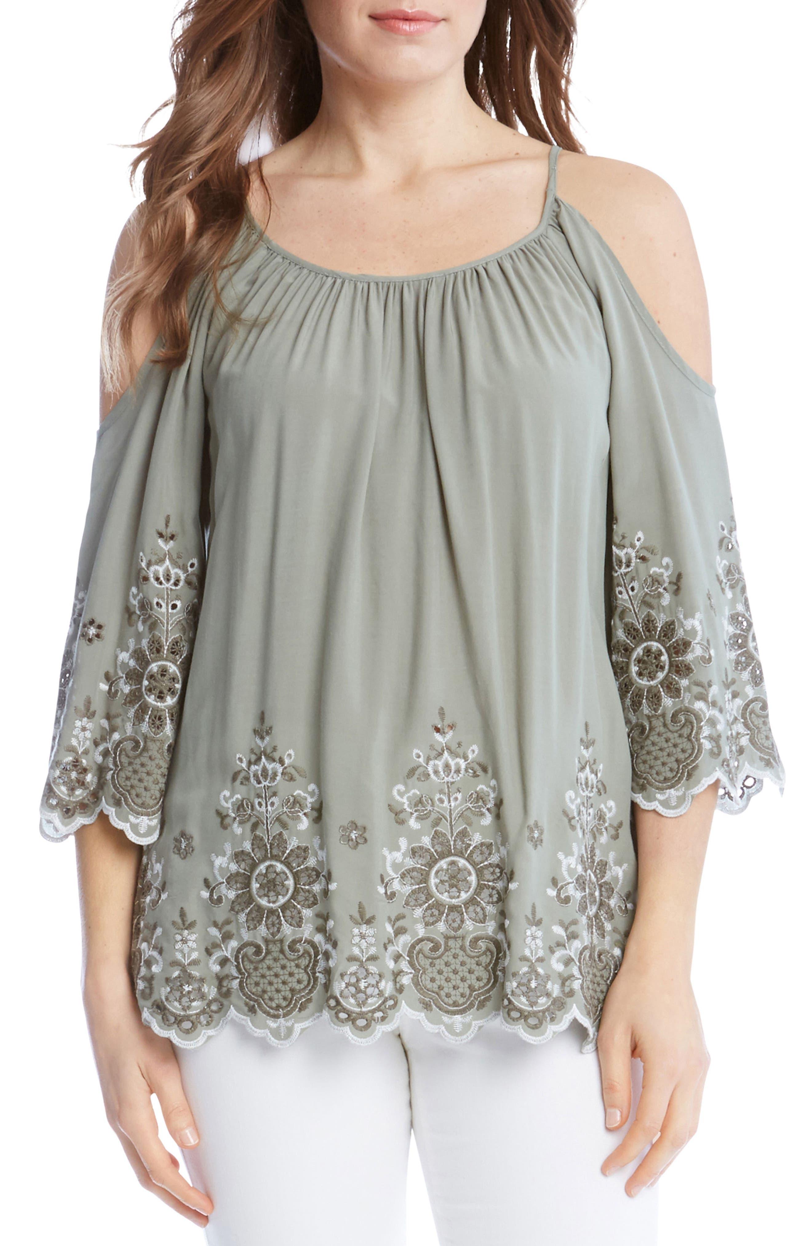 Embroidered Cold Shoulder Top,                         Main,                         color, Sage