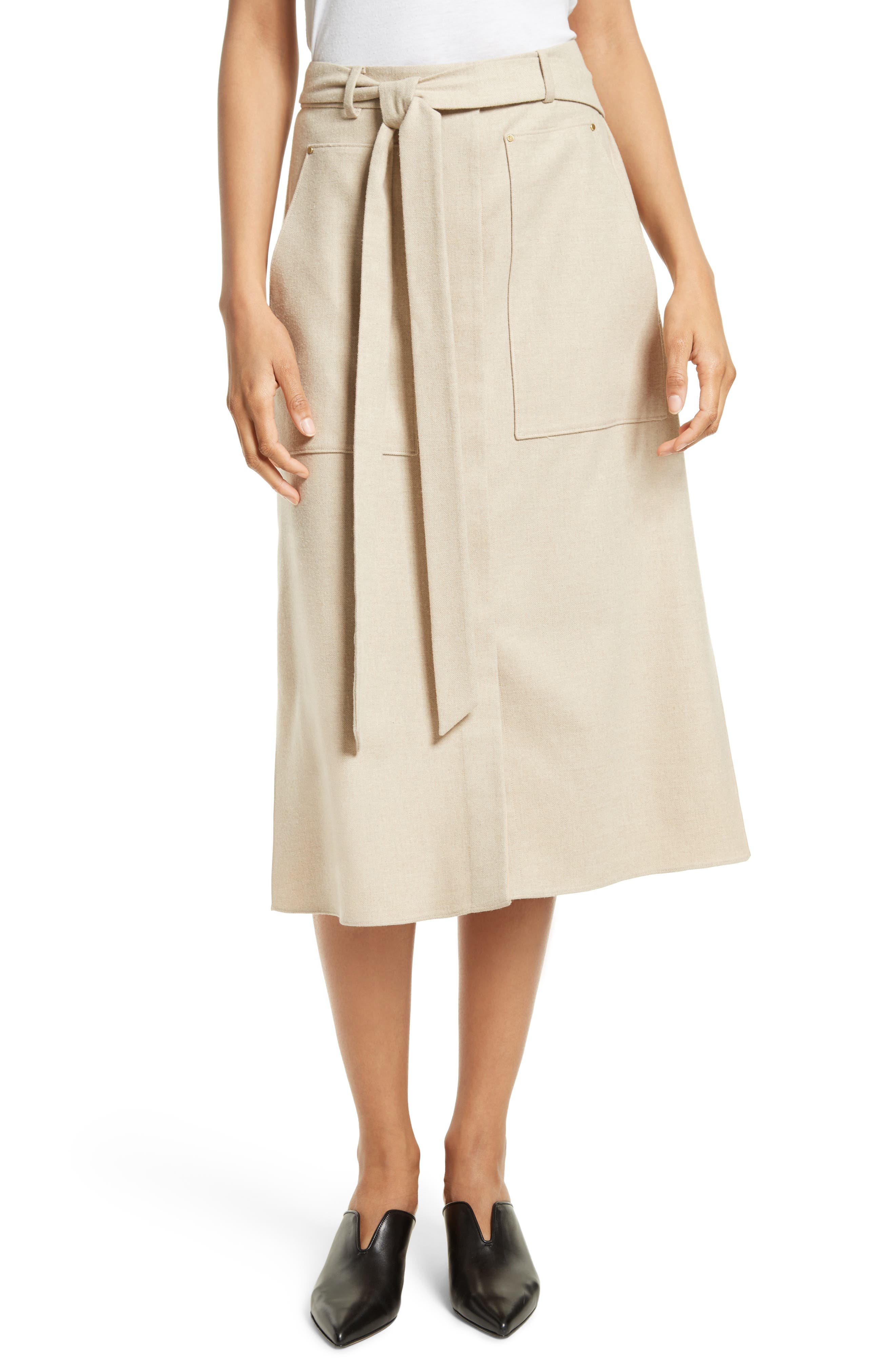 Wilson Twill Midi Skirt,                             Main thumbnail 1, color,                             Oatmeal