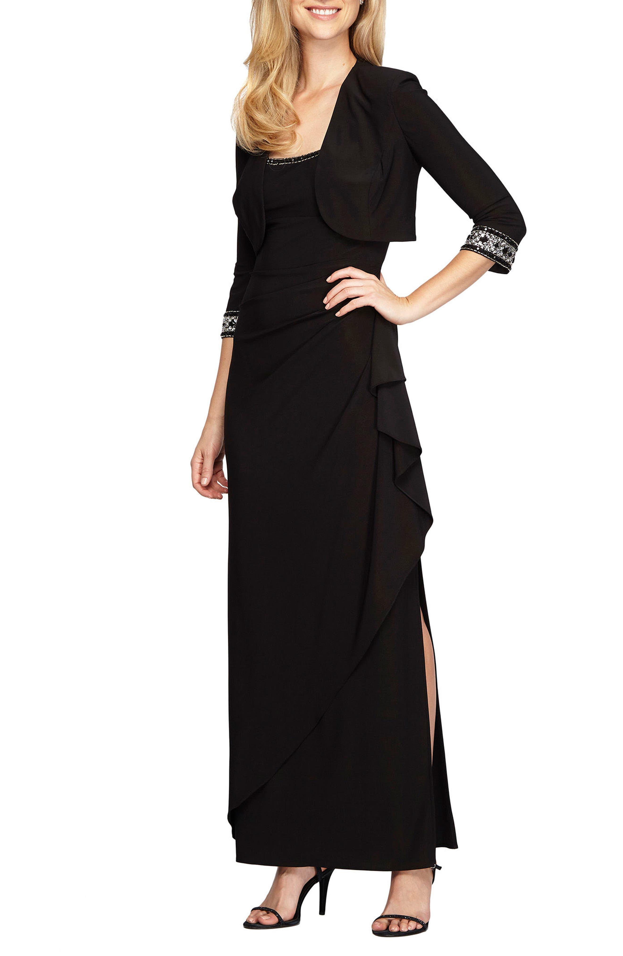 Alex Evenings Embellished Side Drape Gown with Bolero (Regular & Petite)