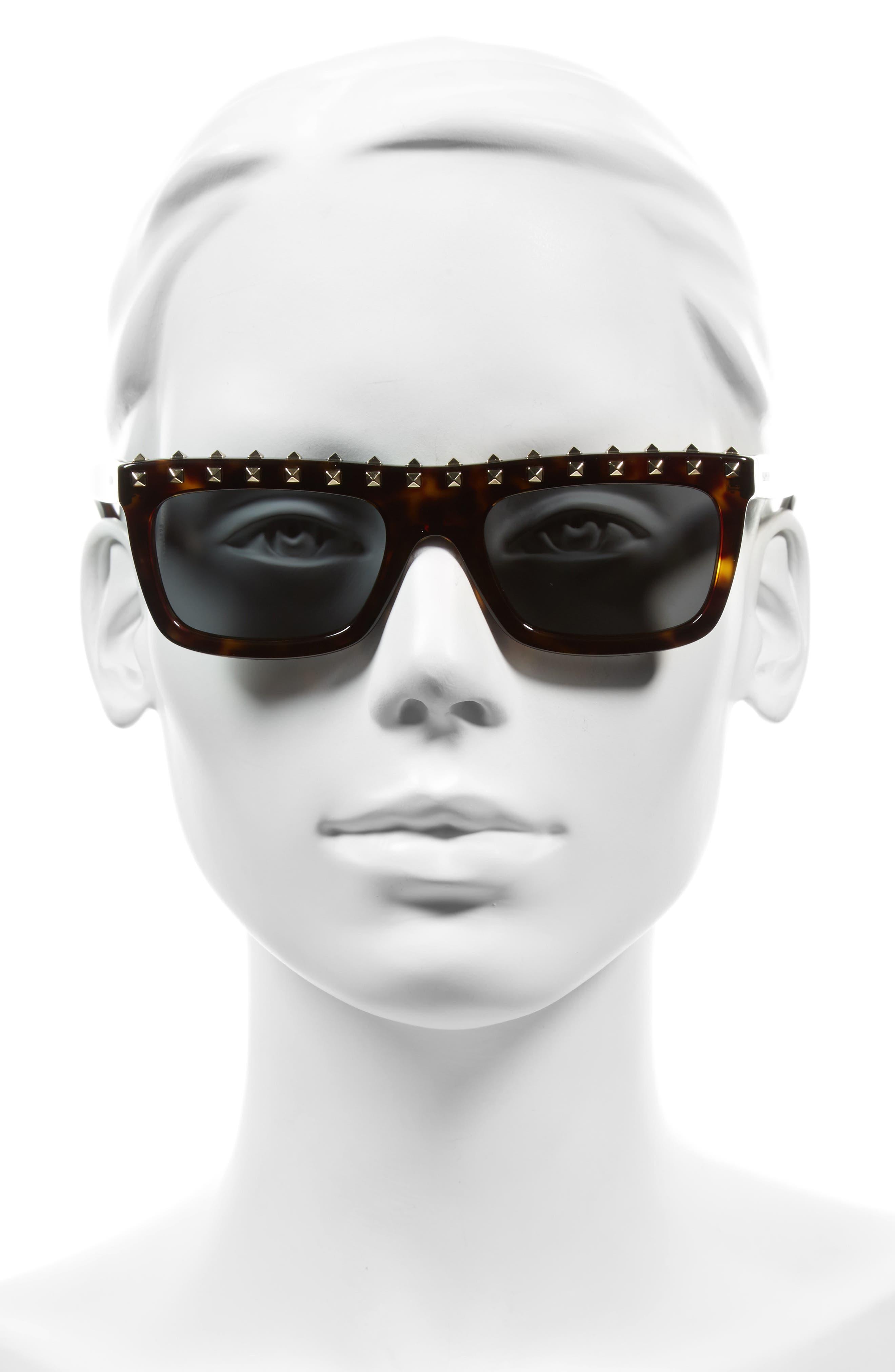 Alternate Image 2  - Valentino Rockstud 51mm Rectangular Sunglasses