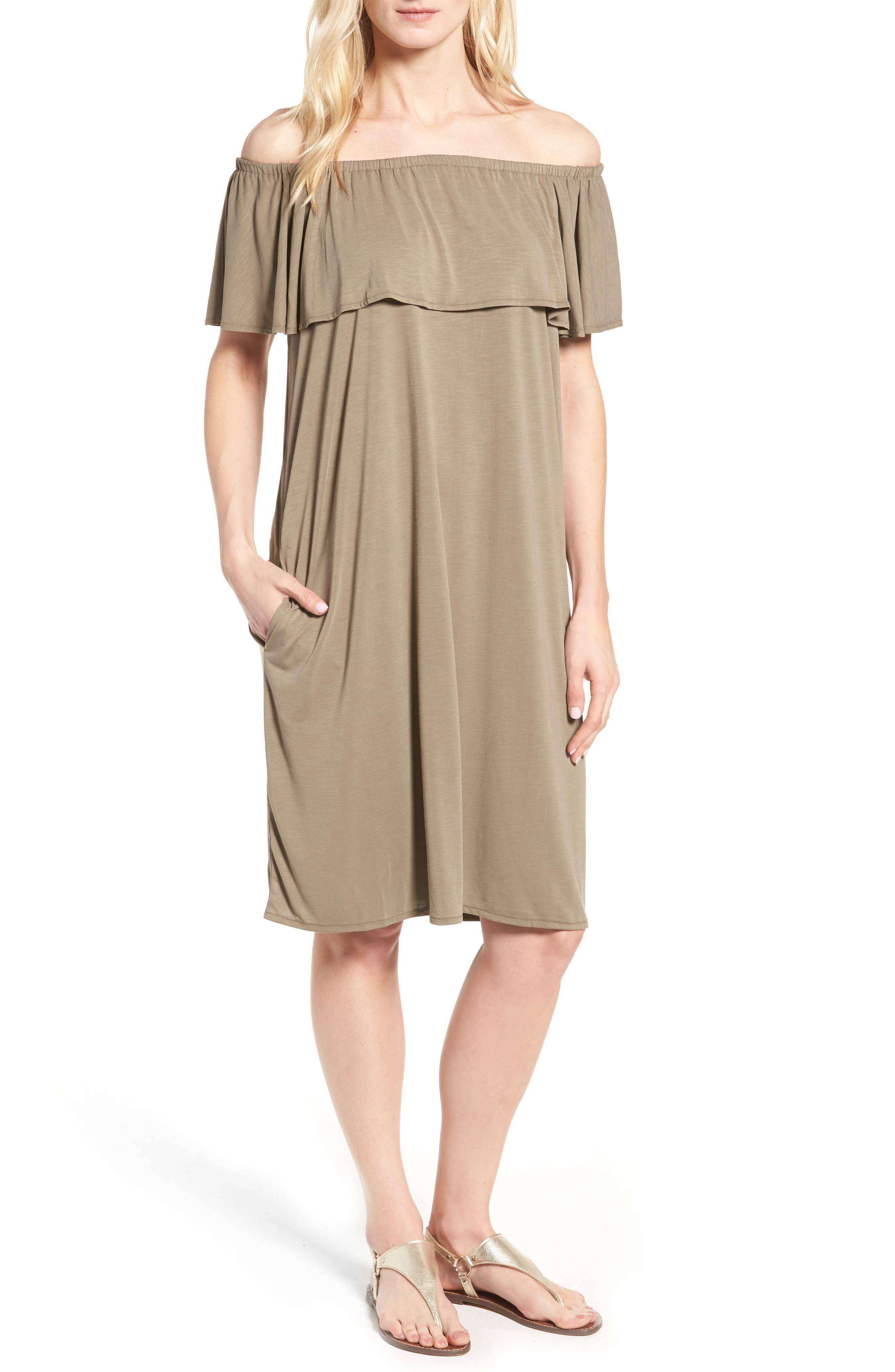 Boardwalk Convertible Jersey Dress,                             Main thumbnail 1, color,                             Washed Marshland