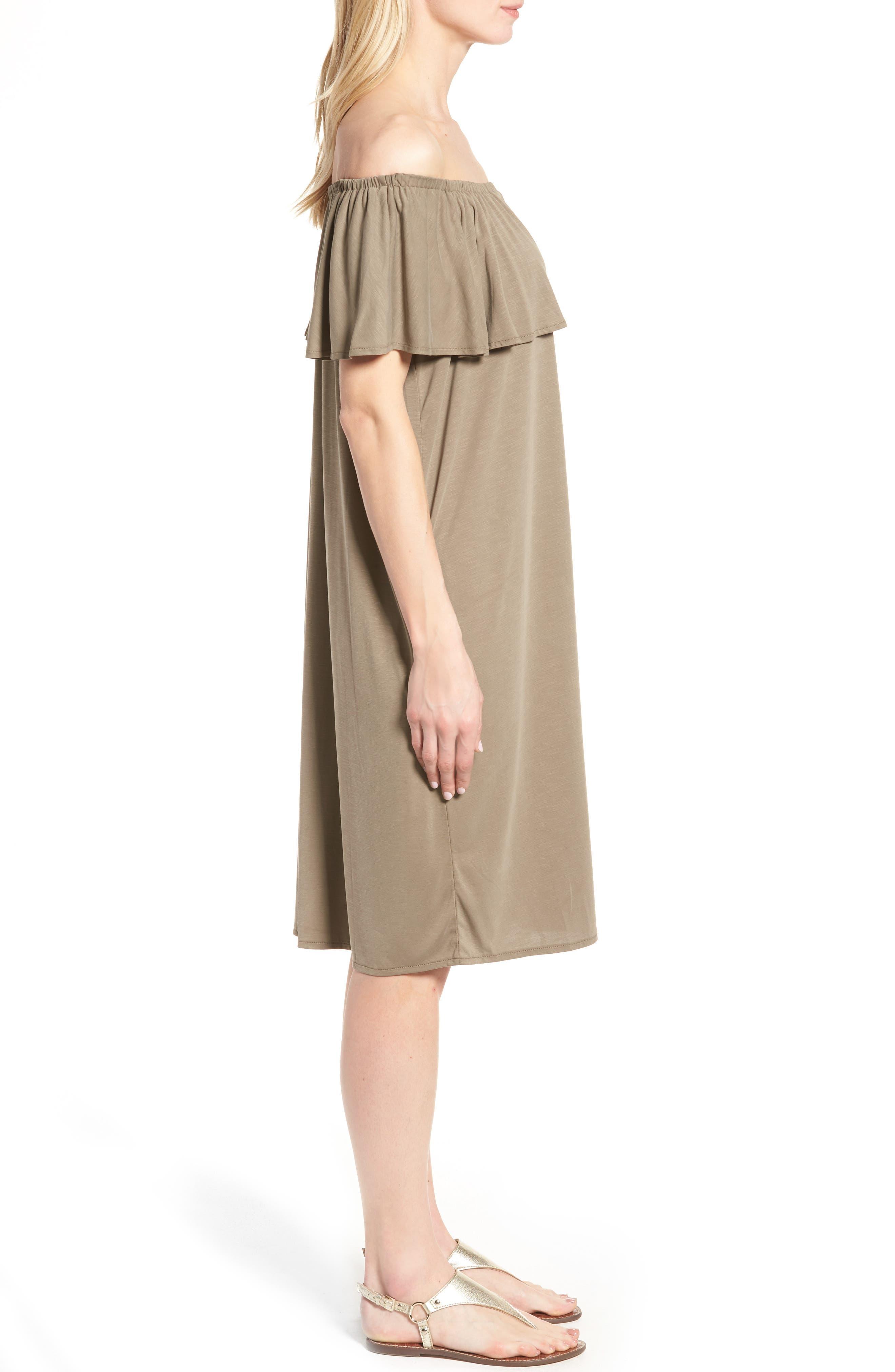 Boardwalk Convertible Jersey Dress,                             Alternate thumbnail 3, color,                             Washed Marshland