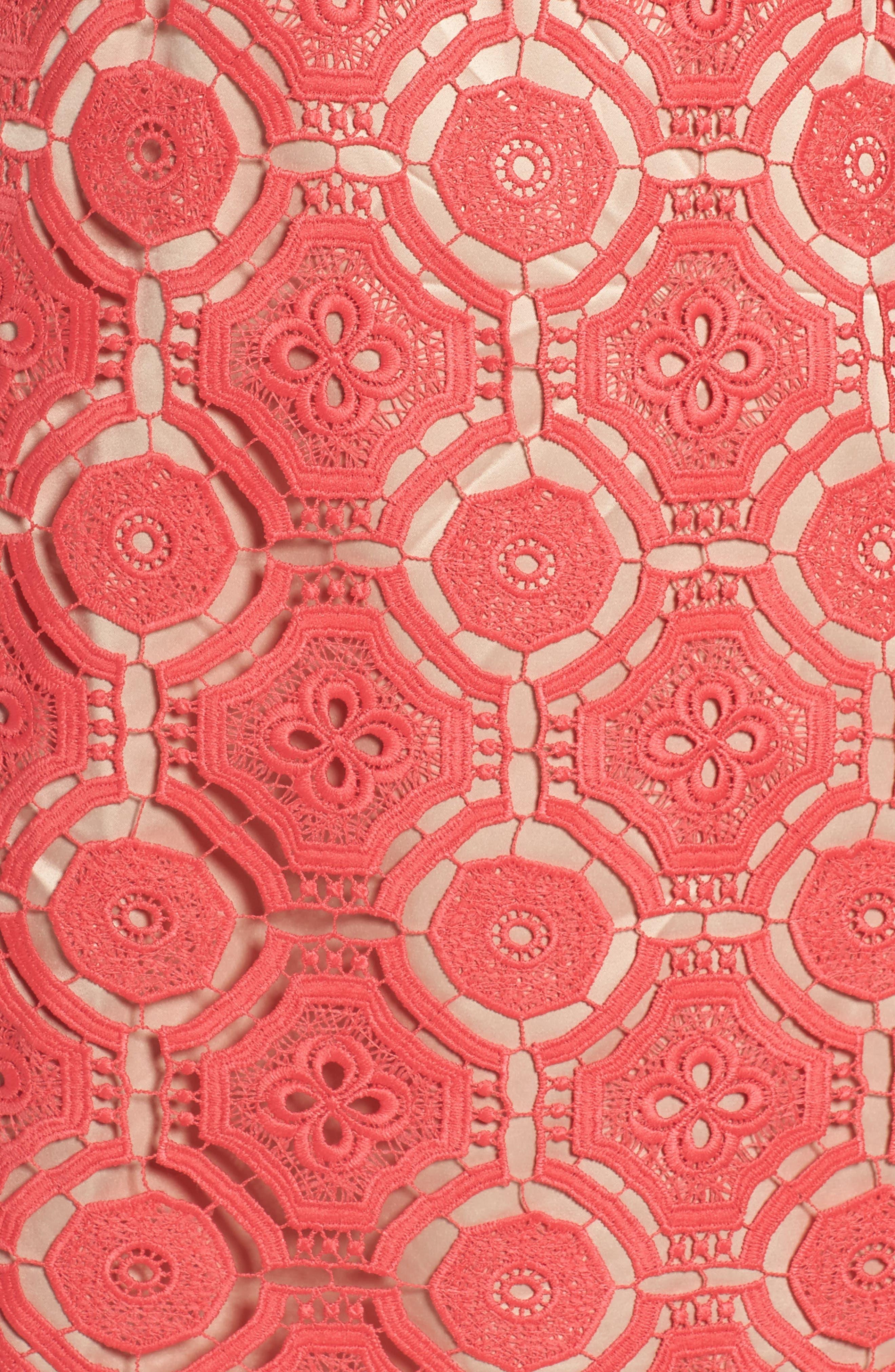 Lace Shift Dress,                             Alternate thumbnail 5, color,                             Poppy