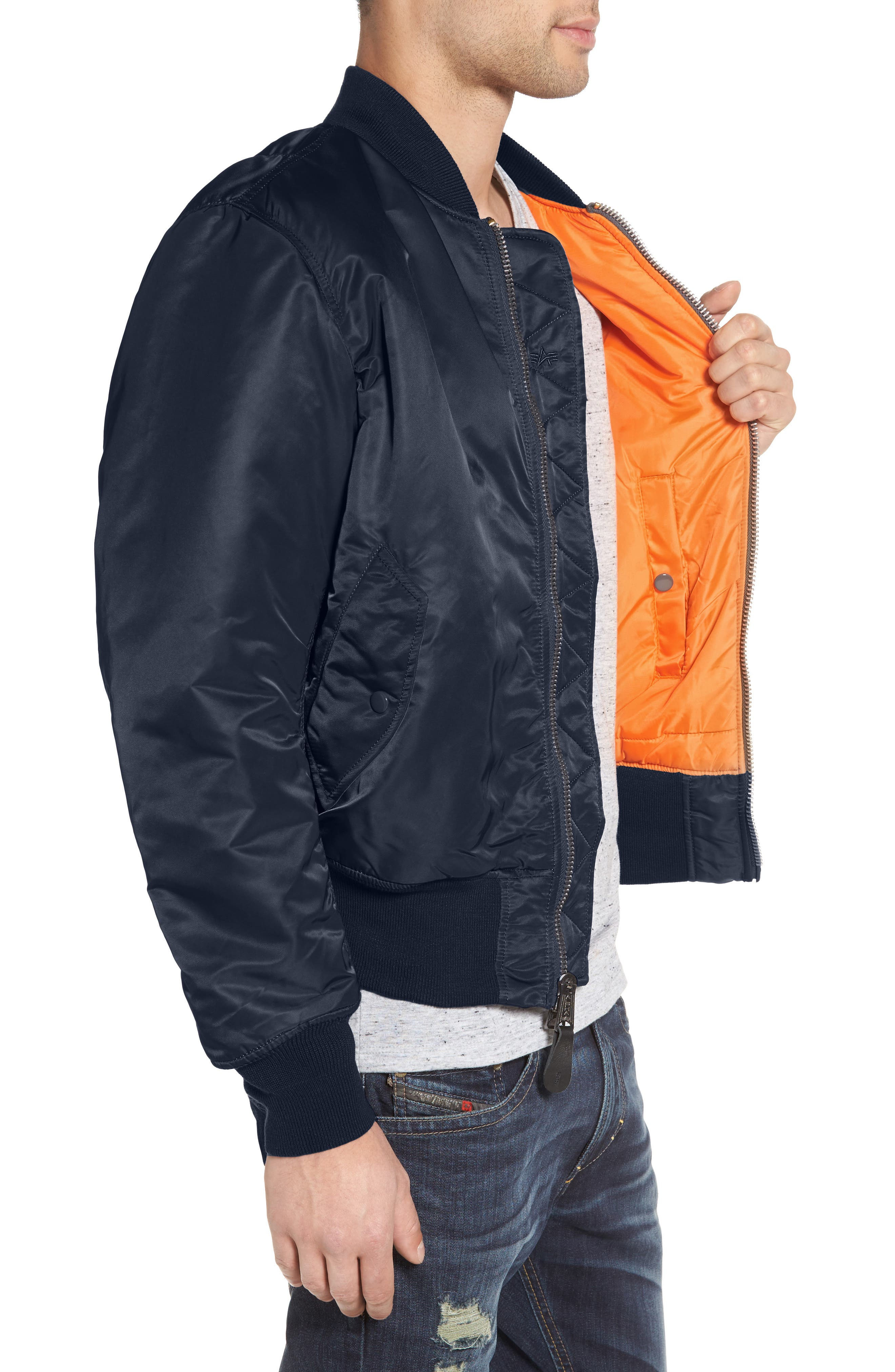 'MA-1' Slim Fit Bomber Jacket,                             Alternate thumbnail 3, color,                             Replica Blue
