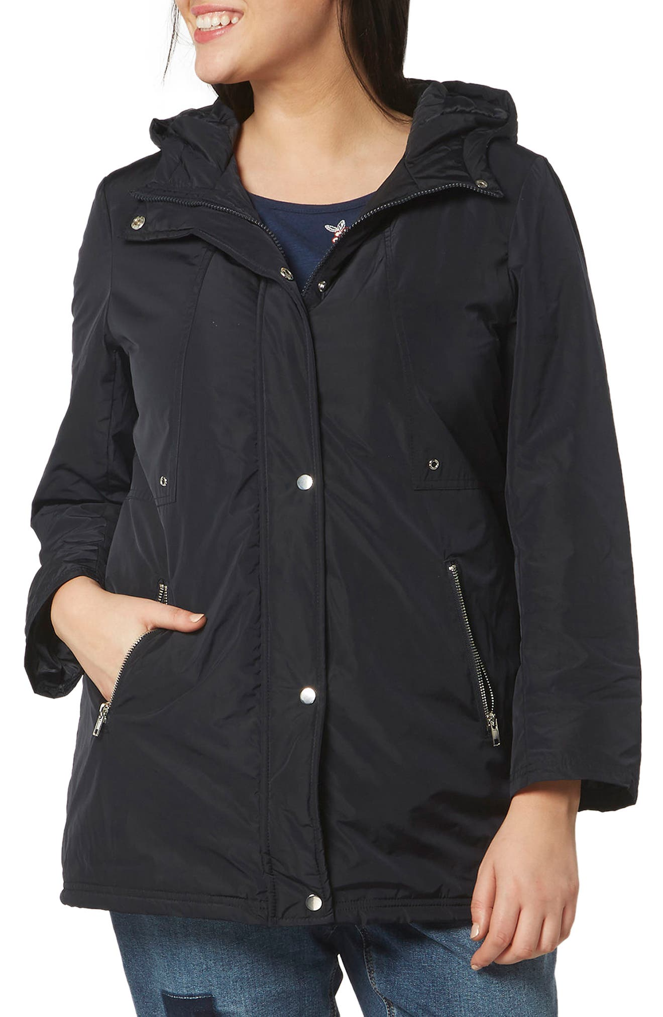 Evans Zip Pocket Hooded Coat (Plus Size)