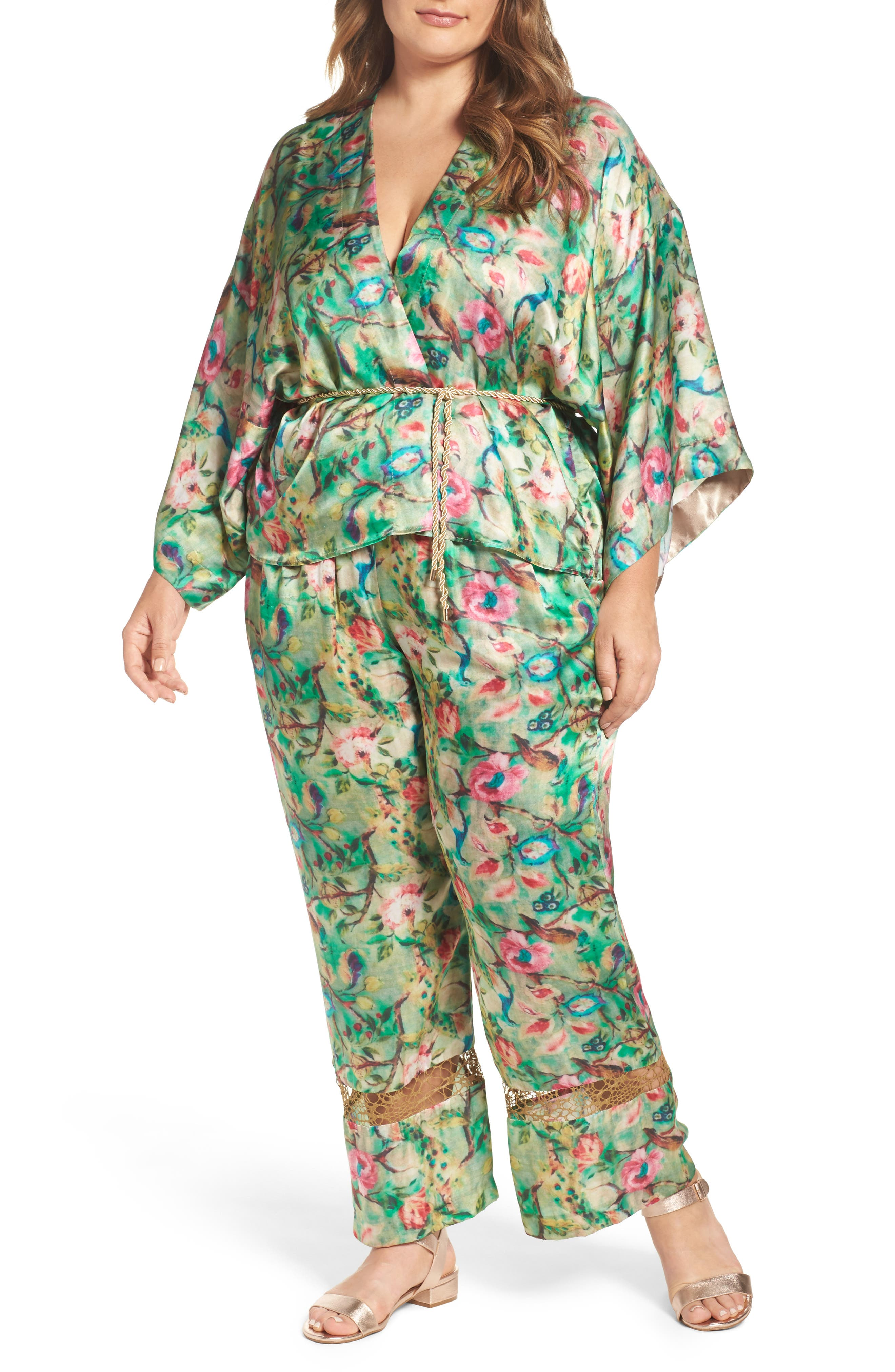 Alternate Image 3  - ELVI Beleted Floral Komono Jacket
