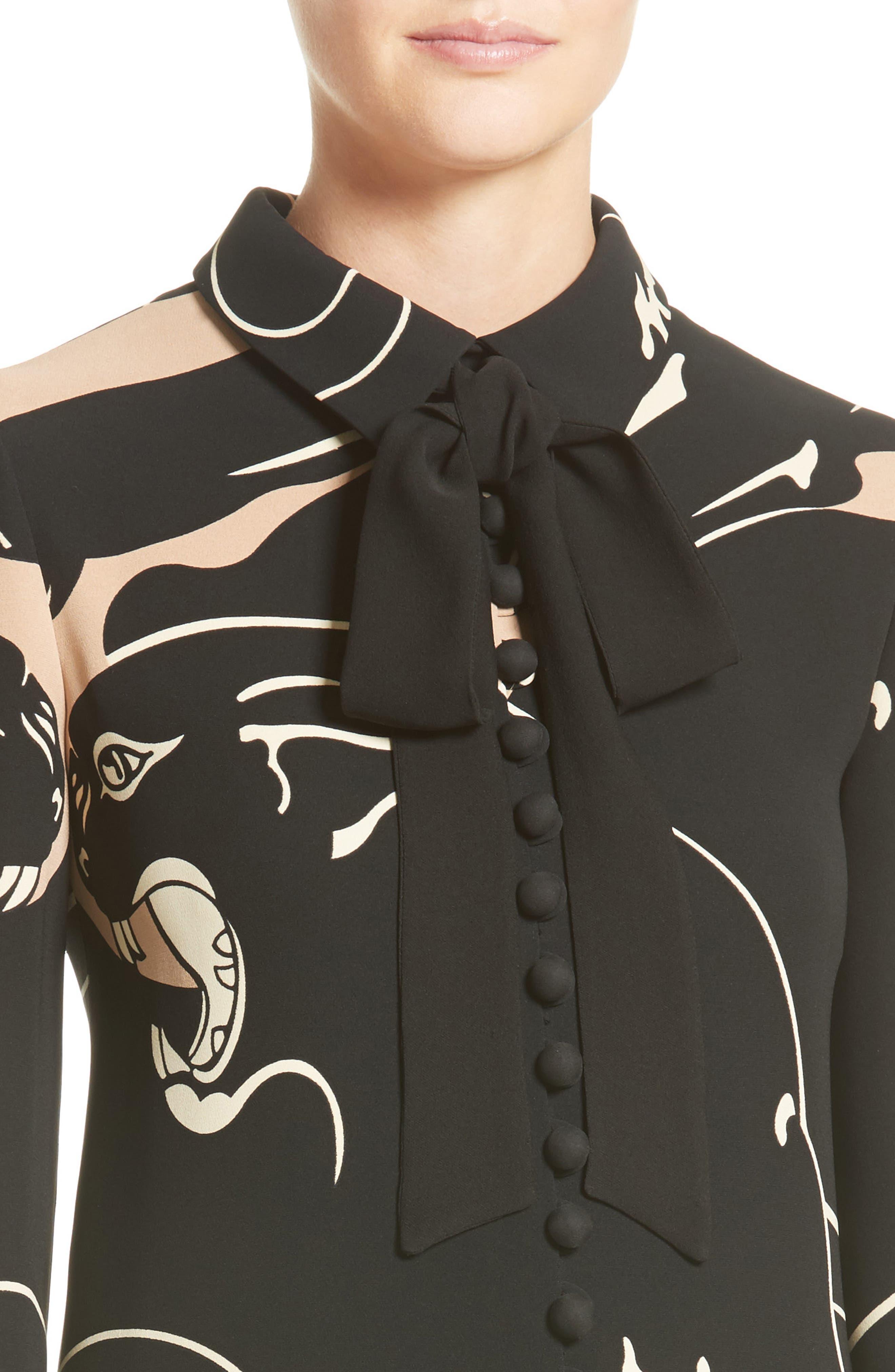 Panther Print Tie Neck Silk Cady Dress,                             Alternate thumbnail 7, color,                             Camel/ Black