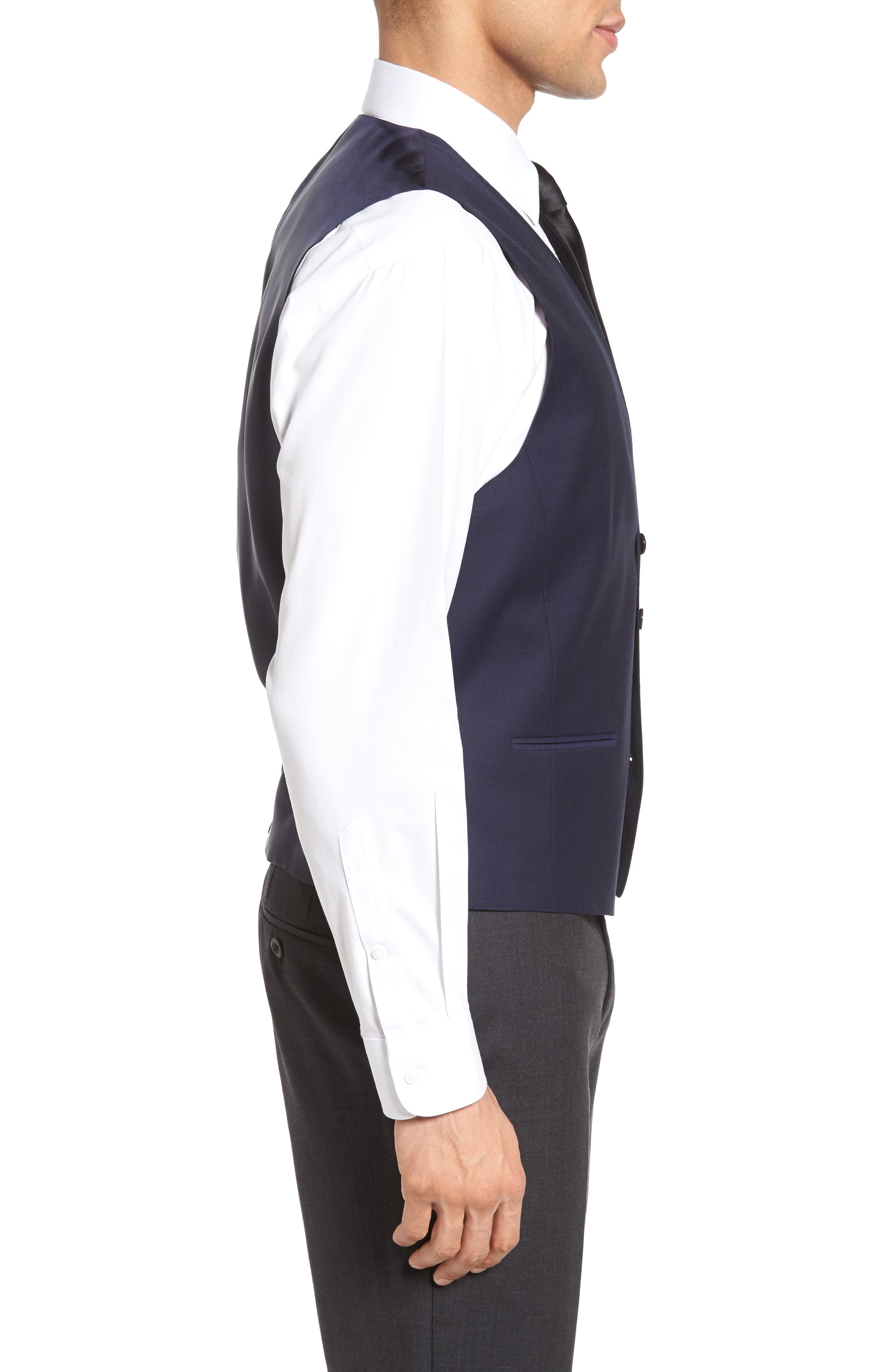 Trim Fit Solid Wool Vest,                             Alternate thumbnail 3, color,                             Navy