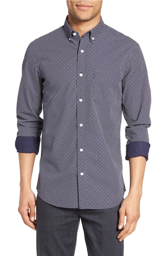 Nordstrom men 39 s shop trim fit non iron dress shirt for What is a non iron shirt