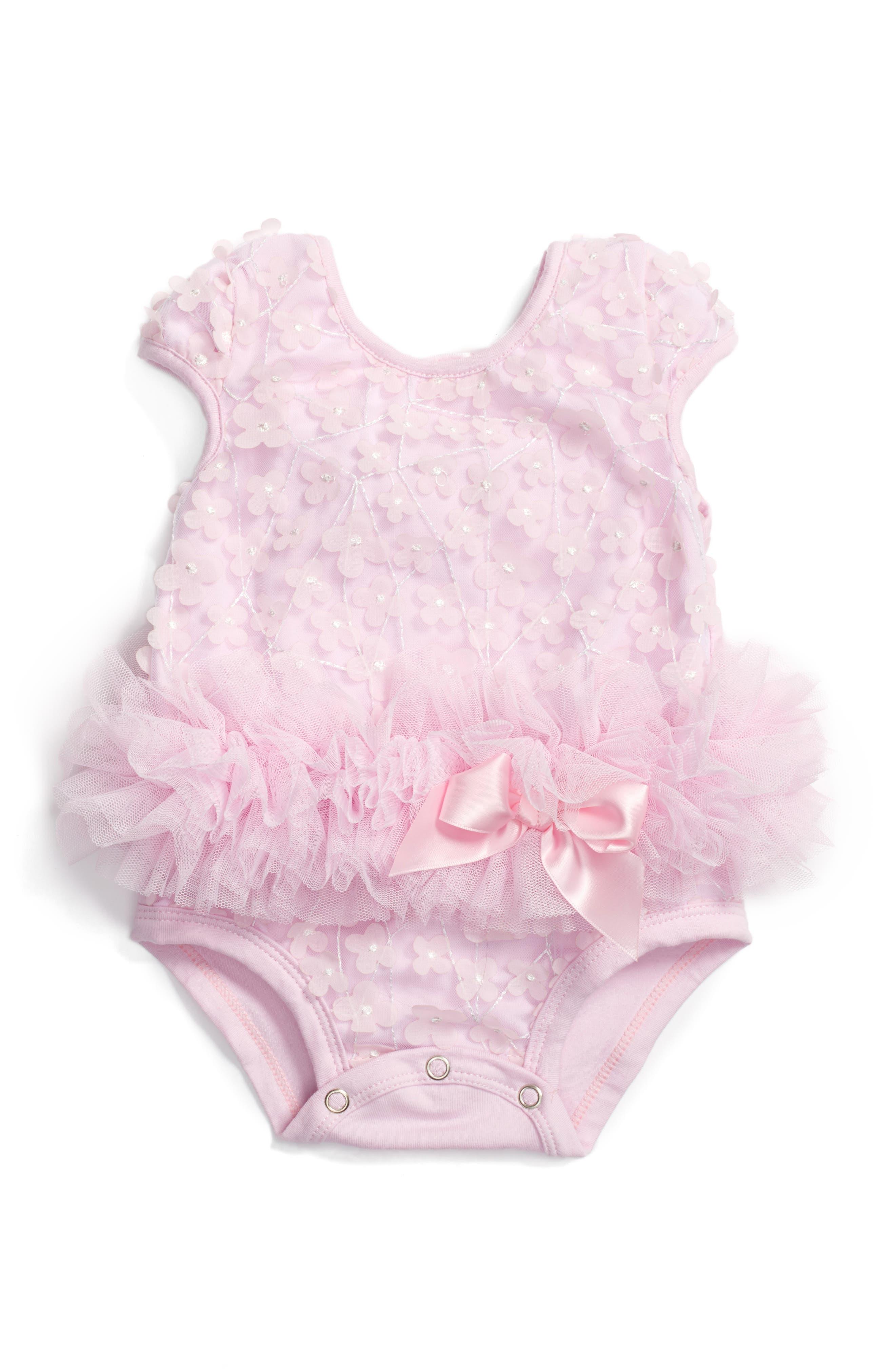 Flower Tutu Bodysuit,                         Main,                         color, Pink