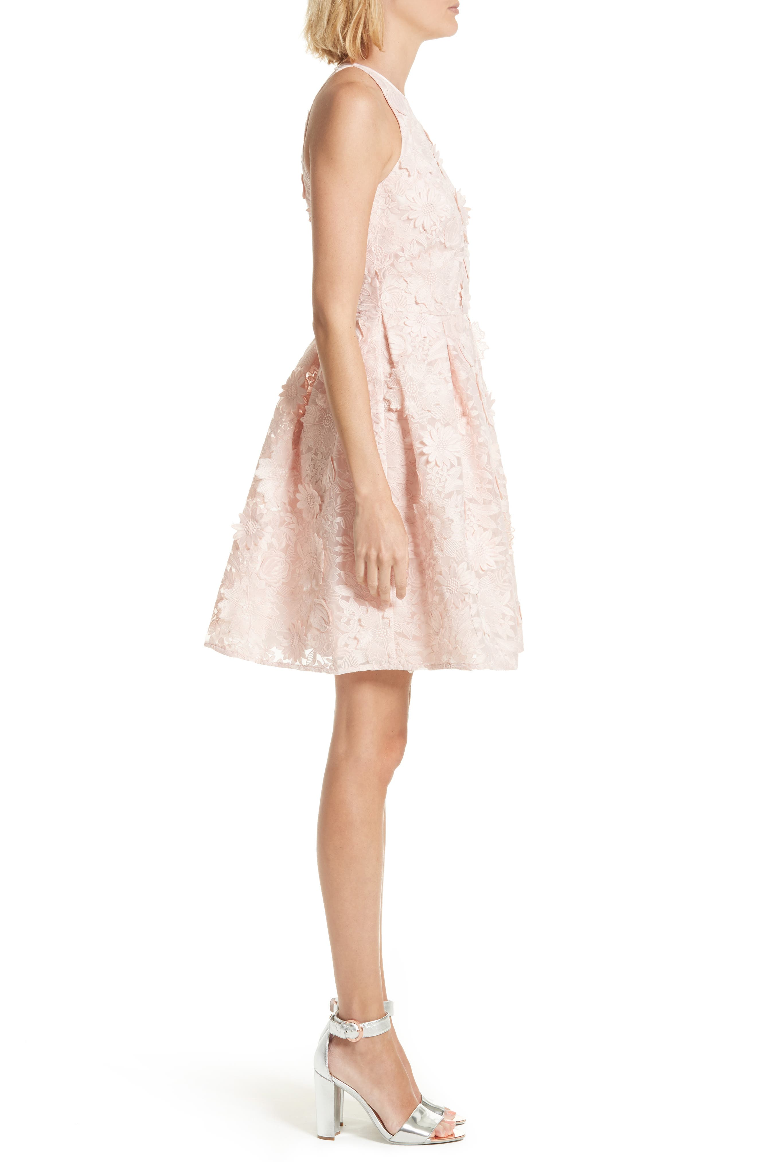 Sweetee Lace Skater Dress,                             Alternate thumbnail 3, color,                             Baby Pink