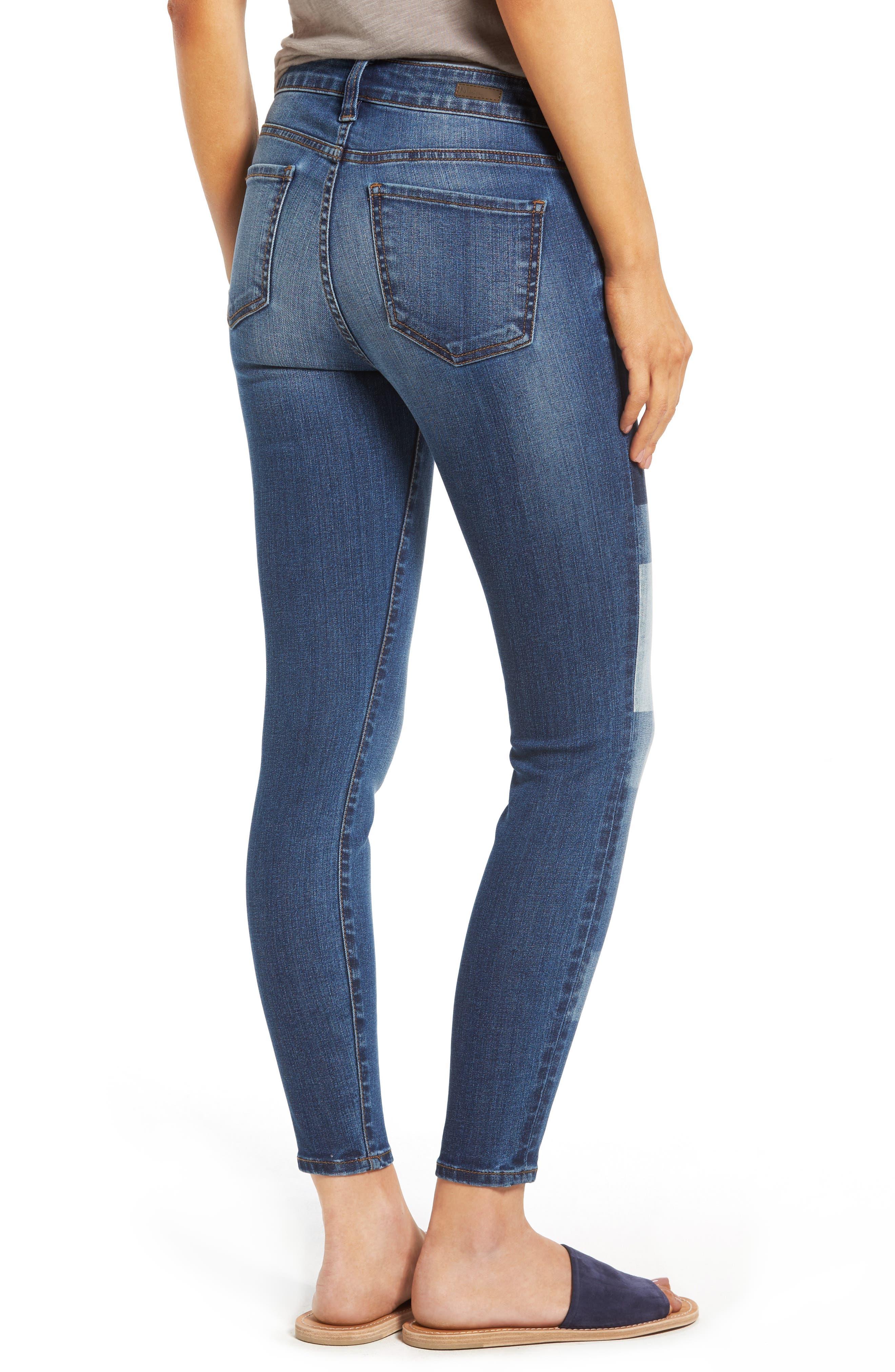 Patchwork Fade Skinny Jeans,                             Alternate thumbnail 2, color,                             Coequal / Dark Stone