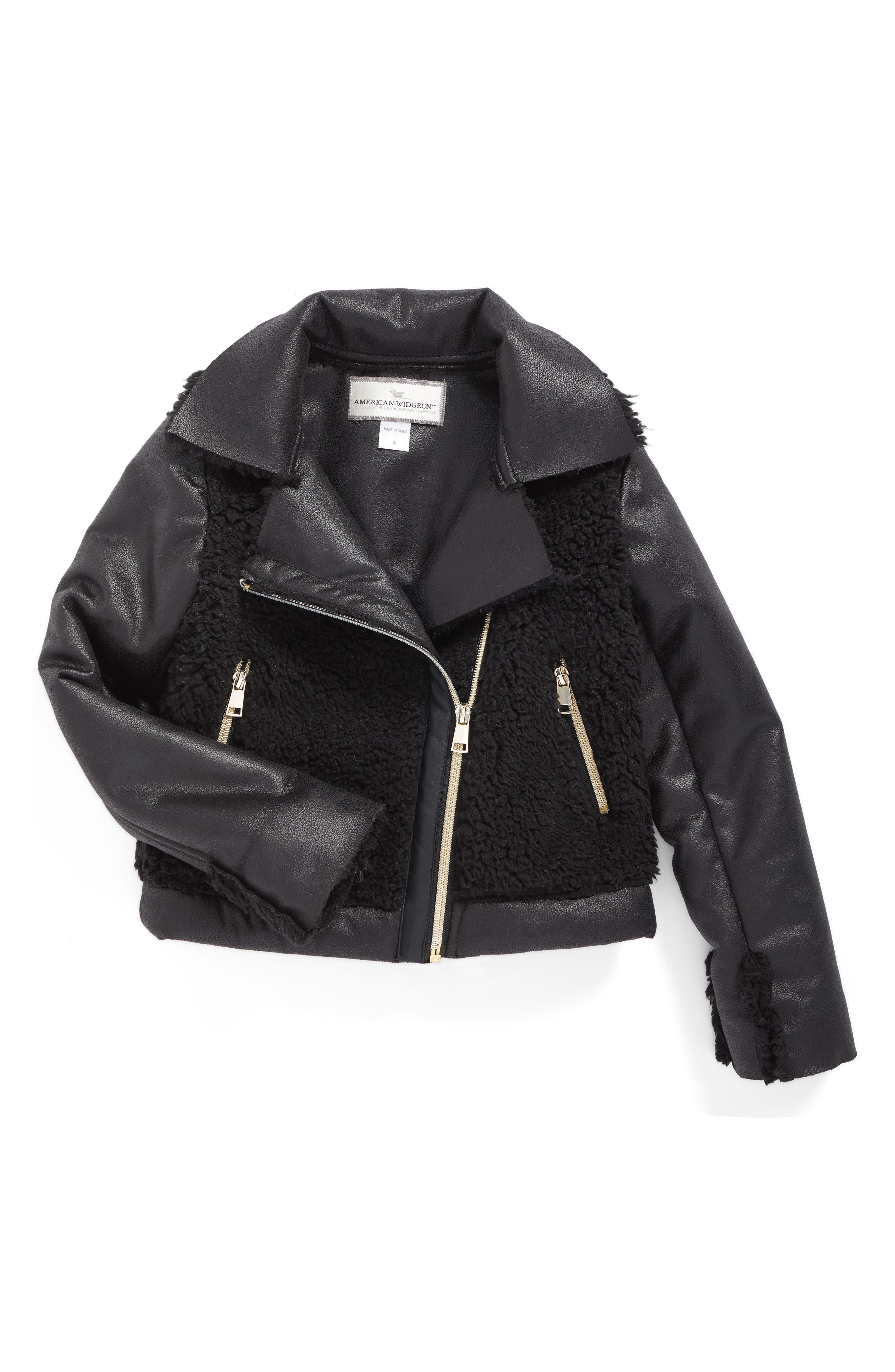 Widgeon Faux Fur Moto Jacket (Toddler Girls & Little Girls)