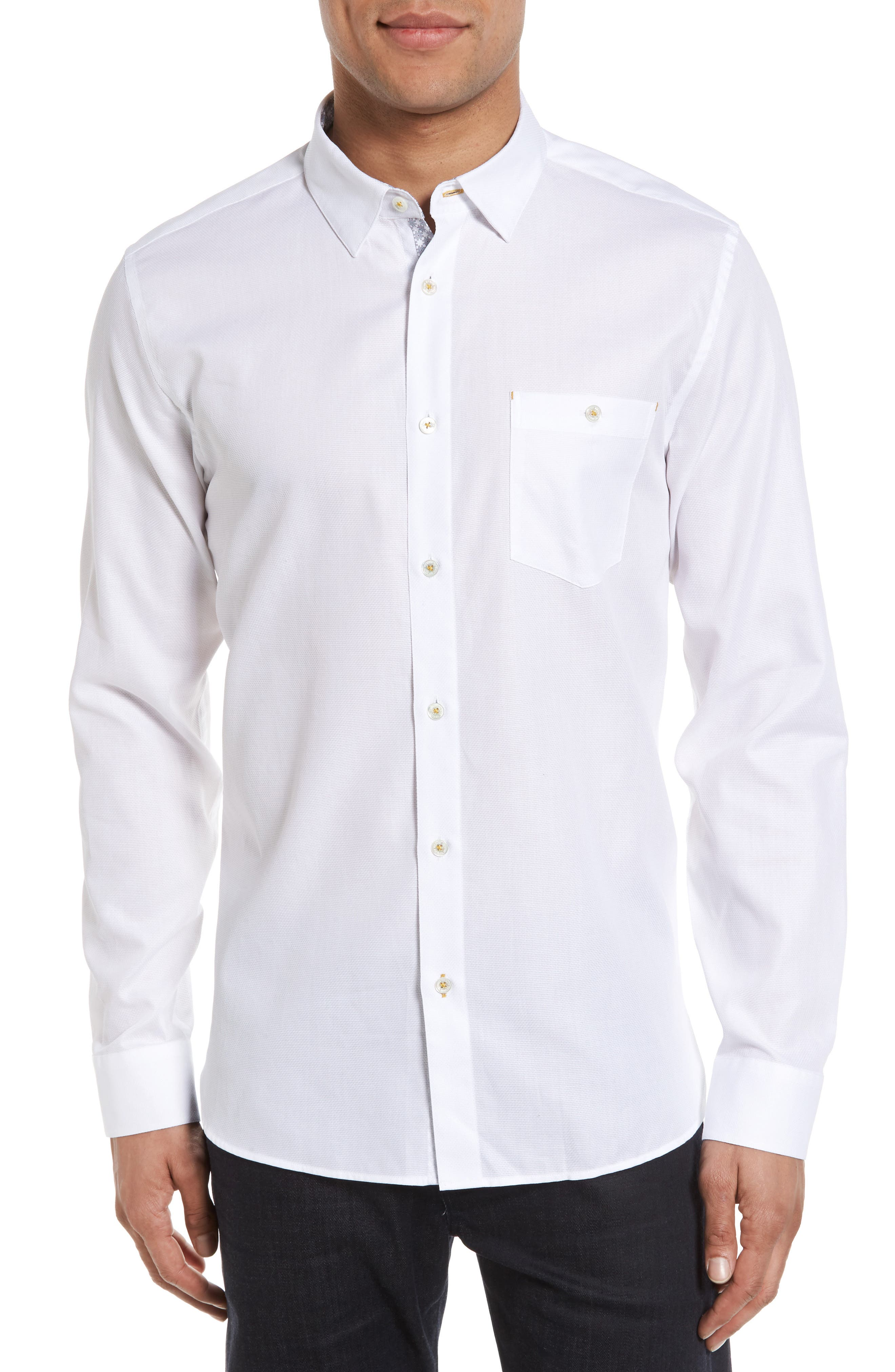 Nordlux Modern Slim Fit Stretch Cotton Sport Shirt,                         Main,                         color, White