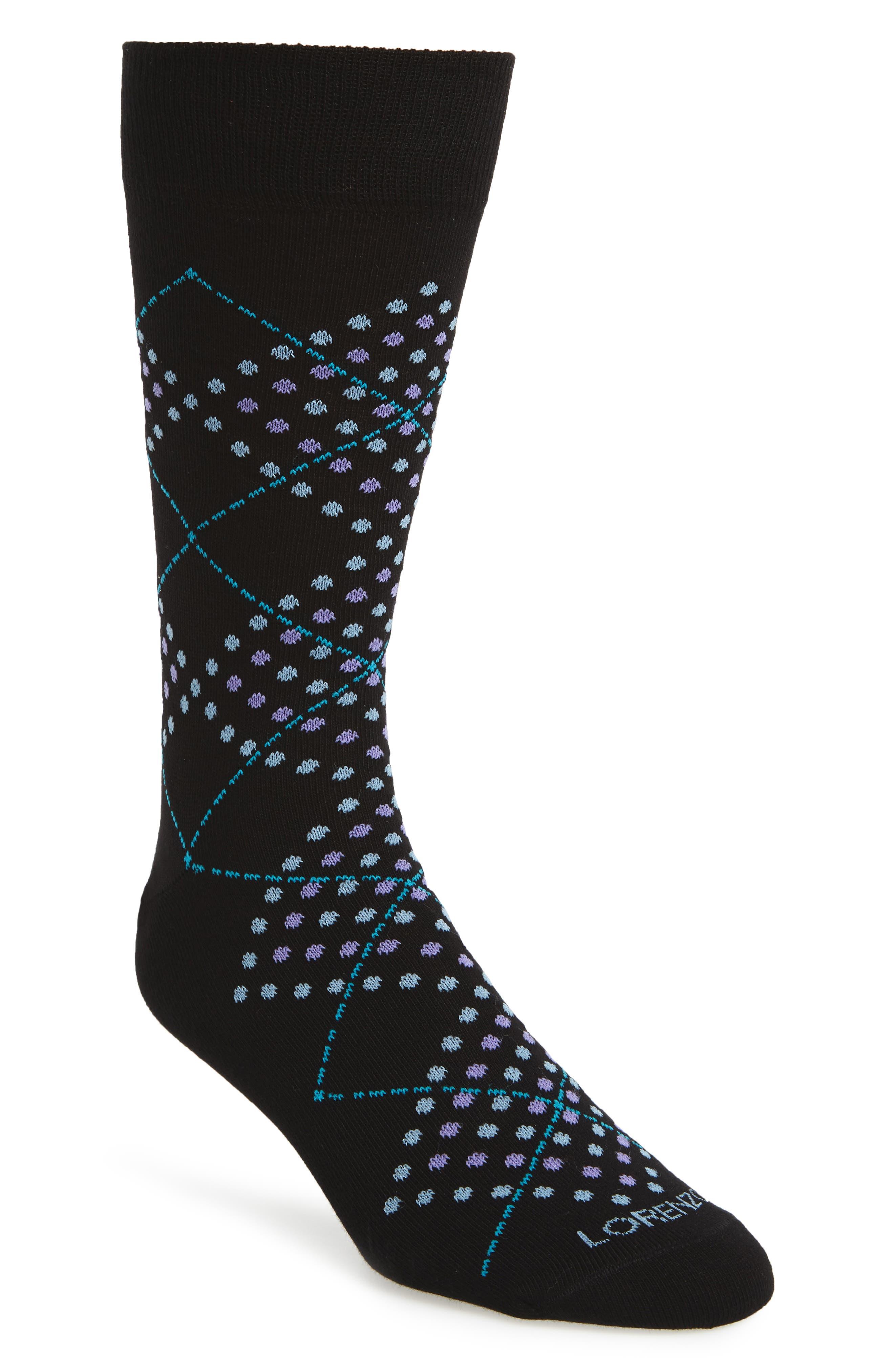 Lorenzo Uomo Dotted Argyle Crew Socks