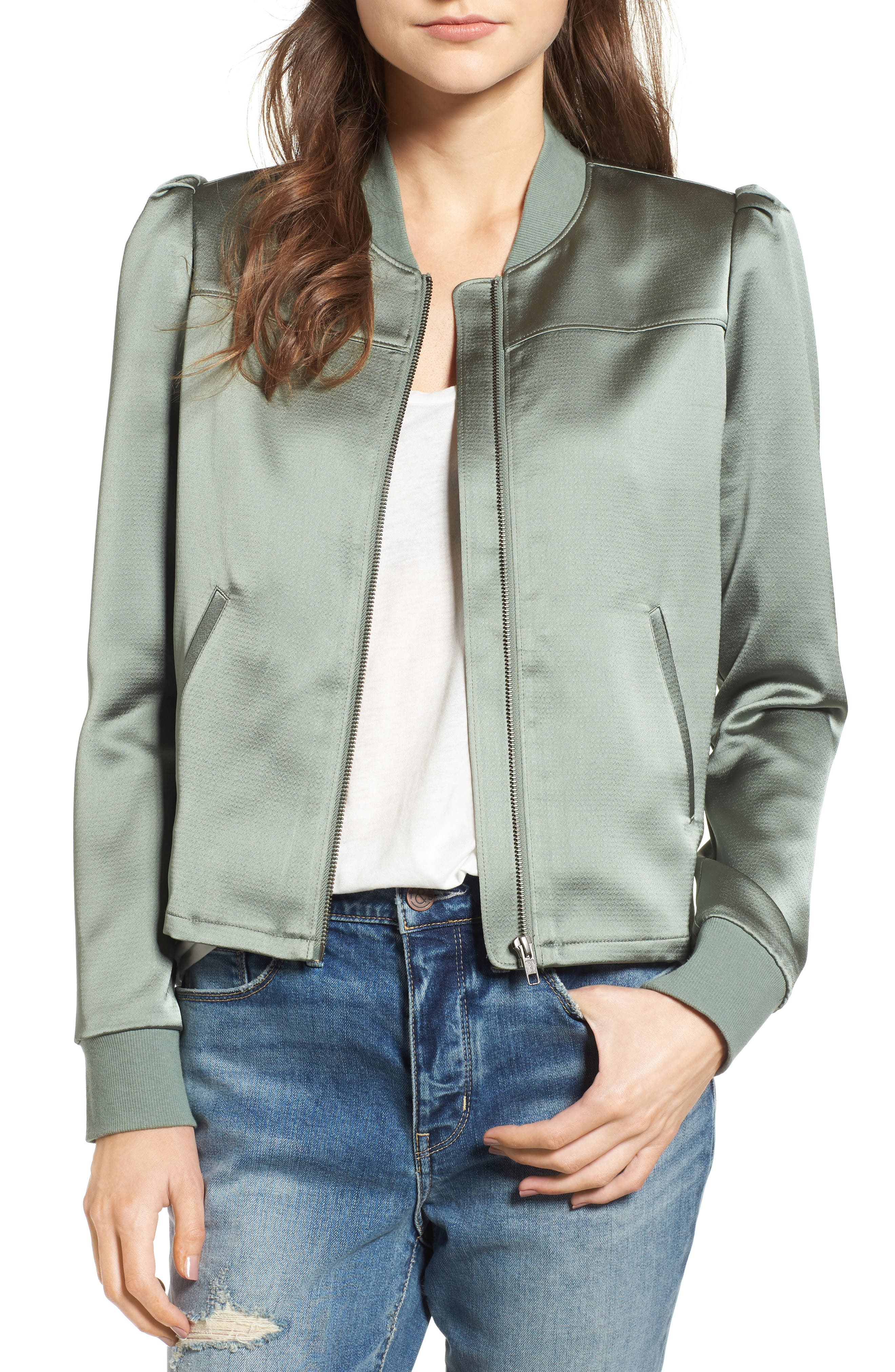Hinge Shrunken Satin Bomber Jacket