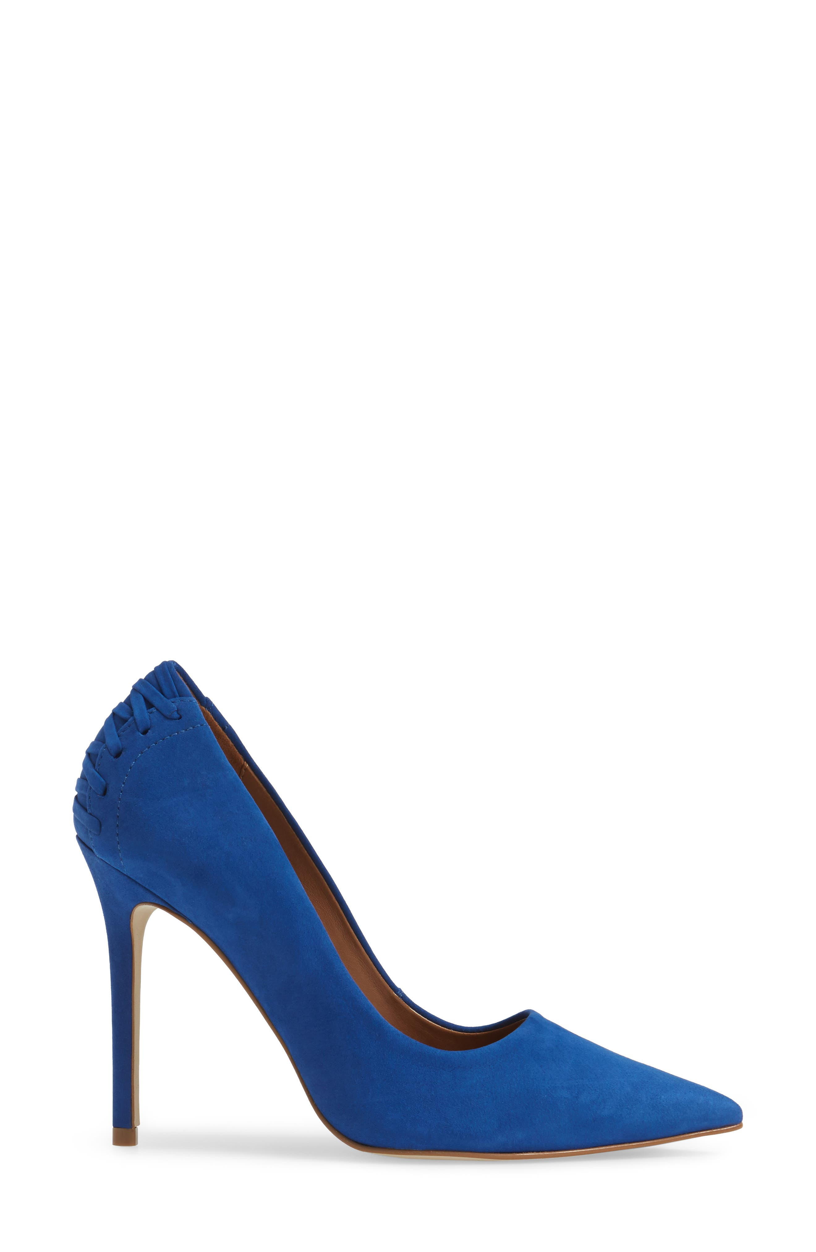 Paiton Laced Heel Pump,                             Alternate thumbnail 3, color,                             Blue Nubuck