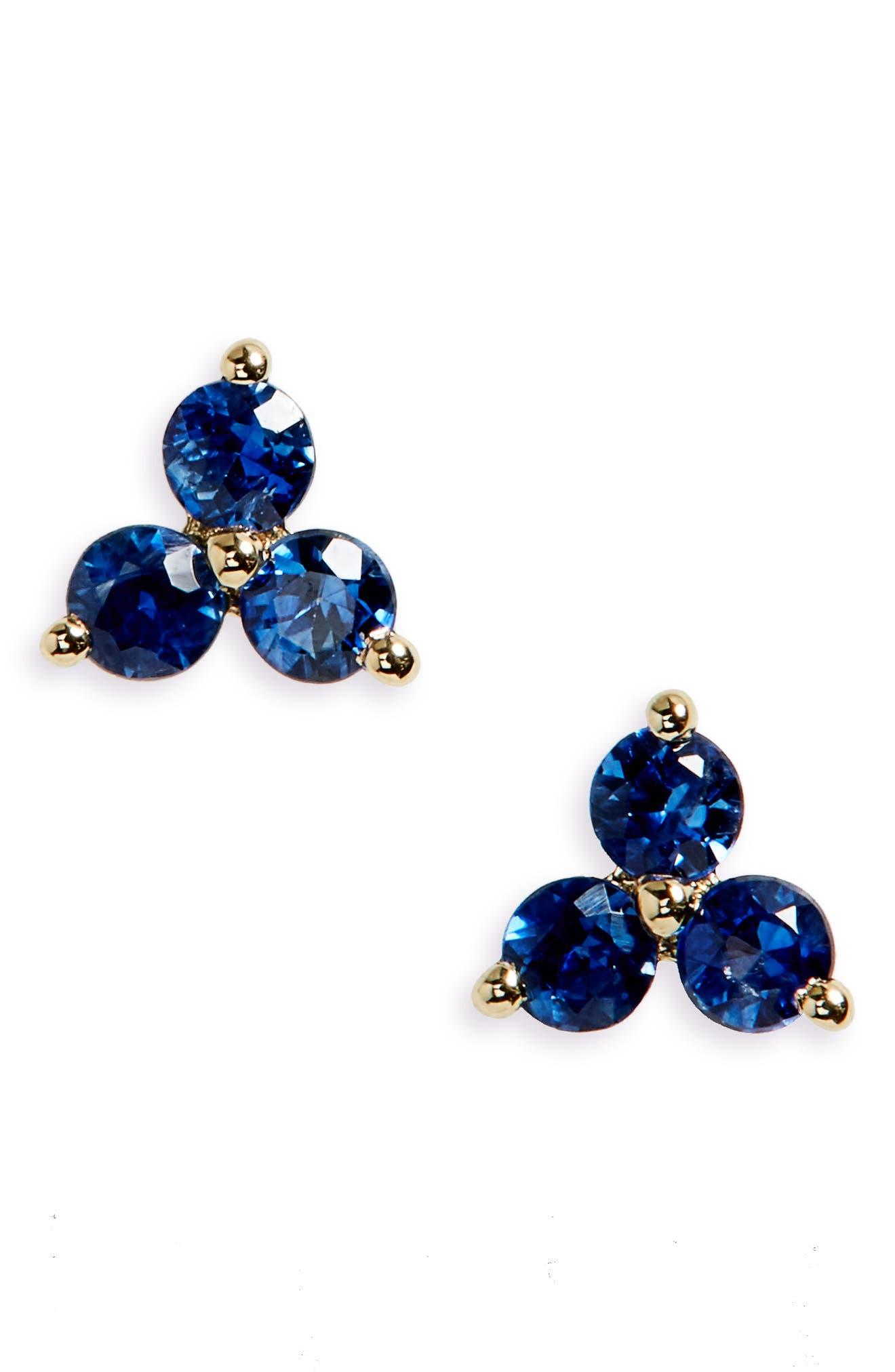 Gem Trio Stud Earrings,                         Main,                         color, Sapphire