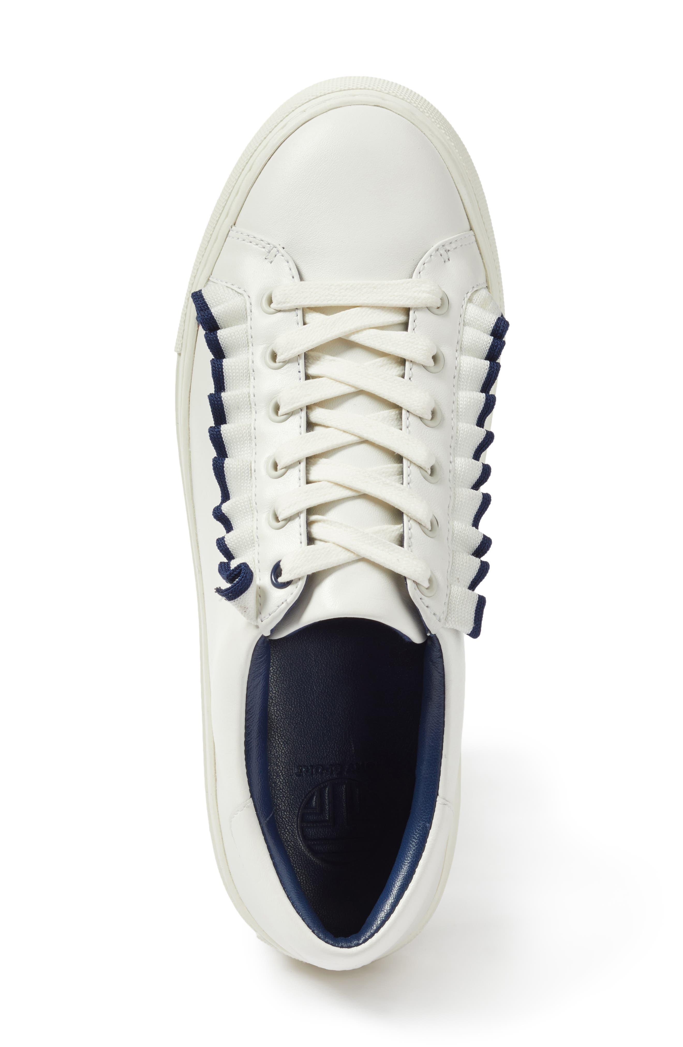 Ruffle Sneaker,                             Alternate thumbnail 5, color,                             Snow White/ Navy Sea