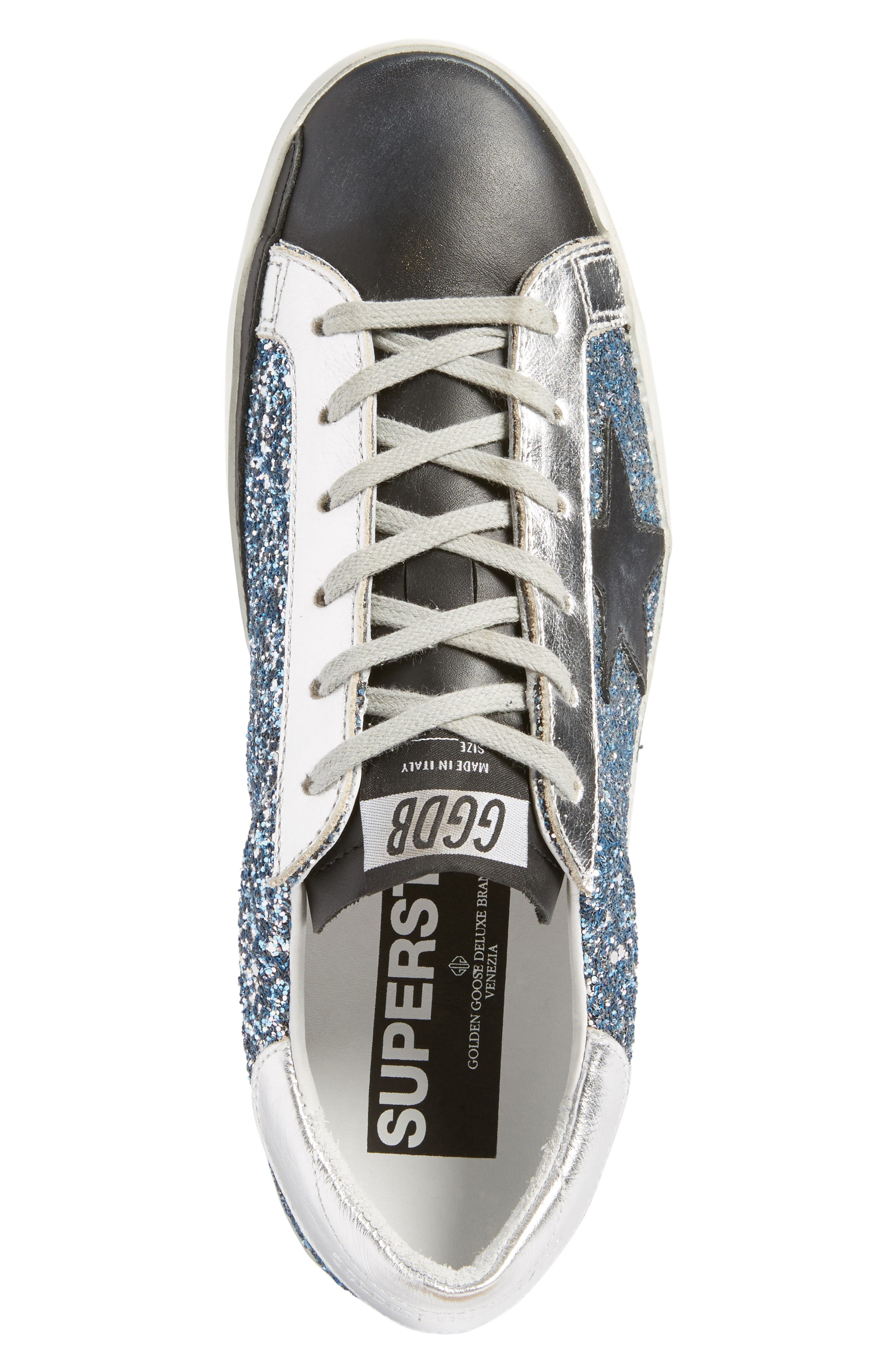 Superstar Glitter Sneaker,                             Alternate thumbnail 5, color,                             Blue Glitter