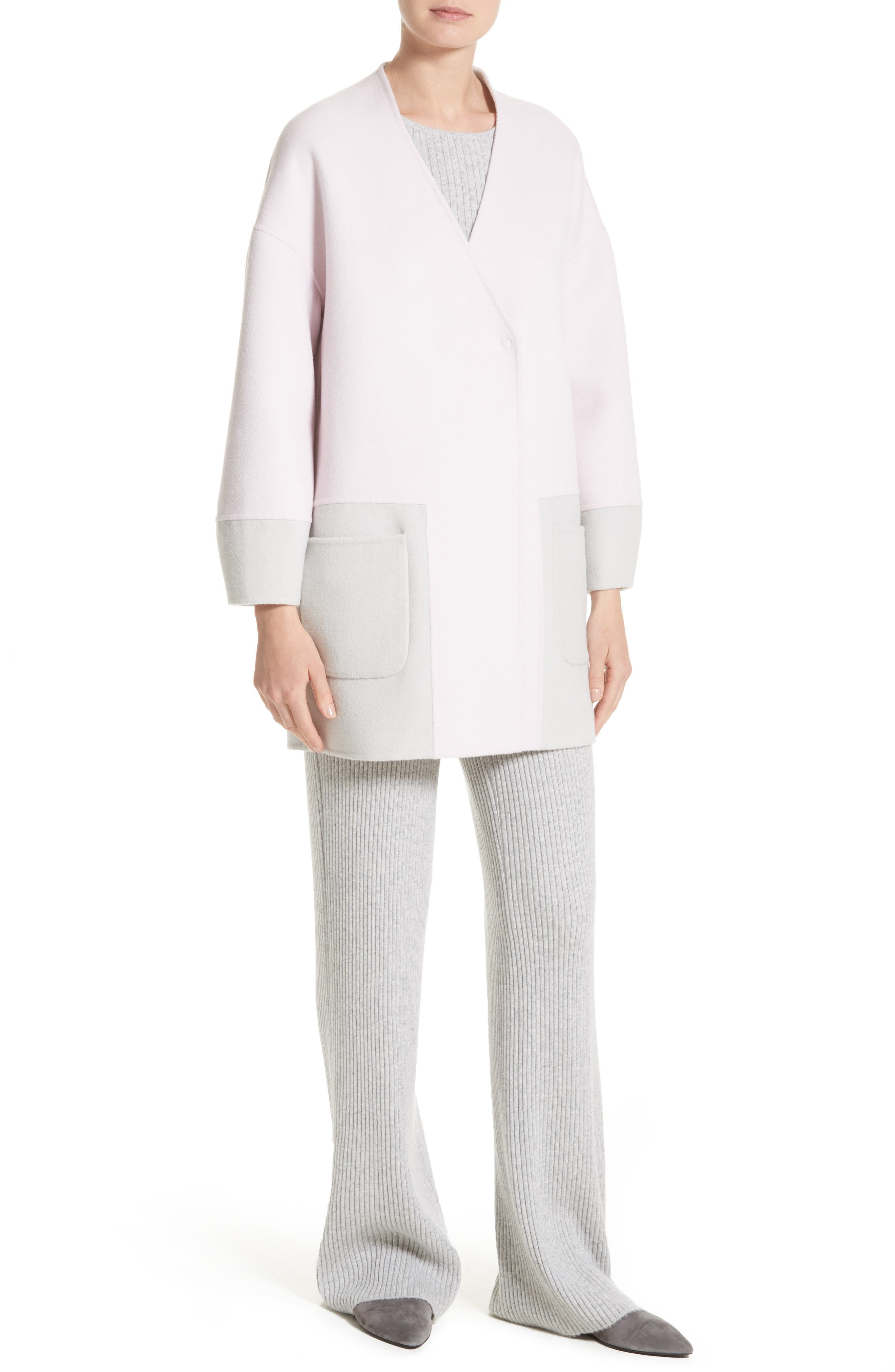Reversible Wool Blend Cocoon Coat,                             Alternate thumbnail 8, color,                             Petal/ Light Grey Melange