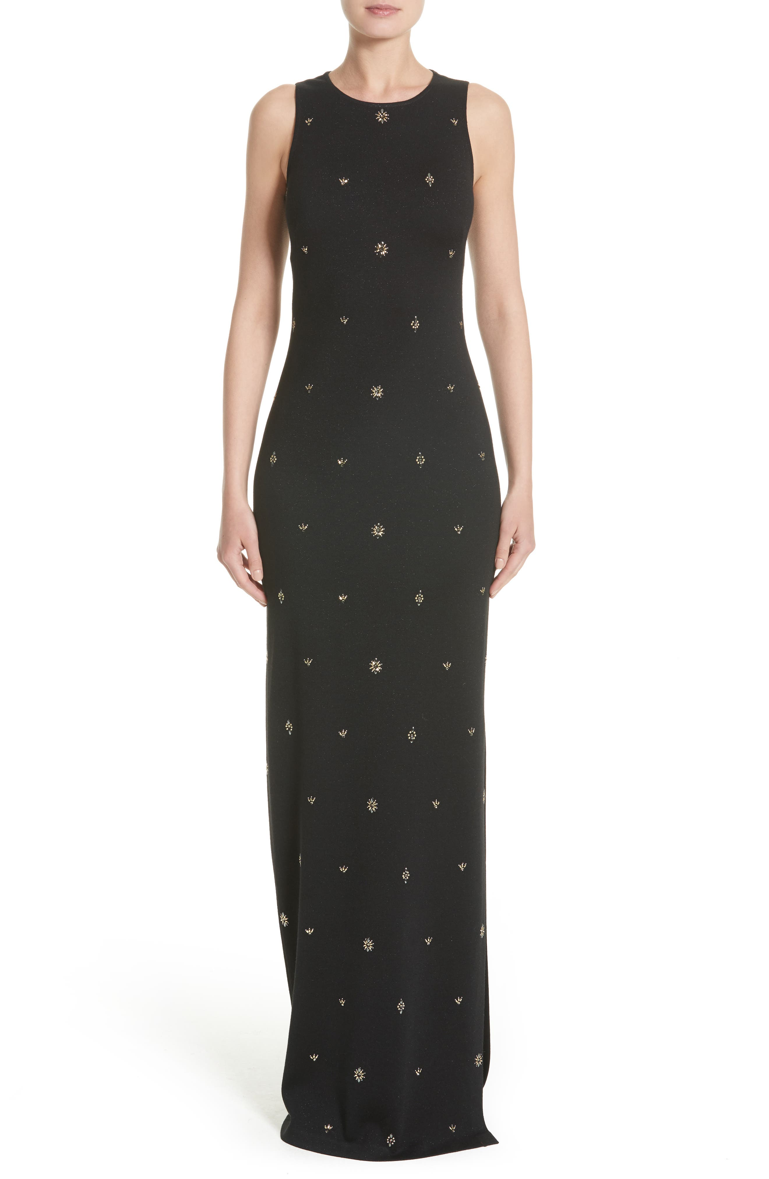Back Keyhole Shimmer Milano Knit Gown,                         Main,                         color, Caviar