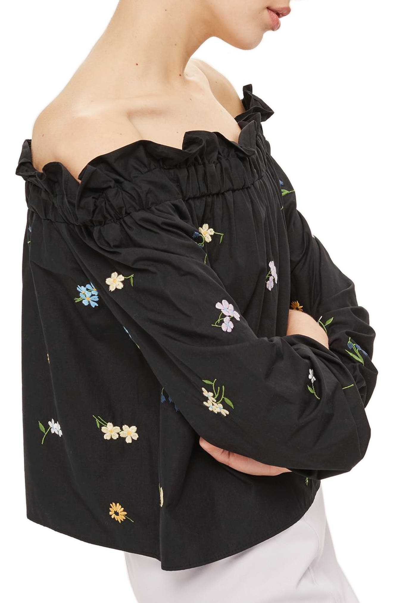 Alternate Image 1 Selected - Topshop Bardot Embroidered Top