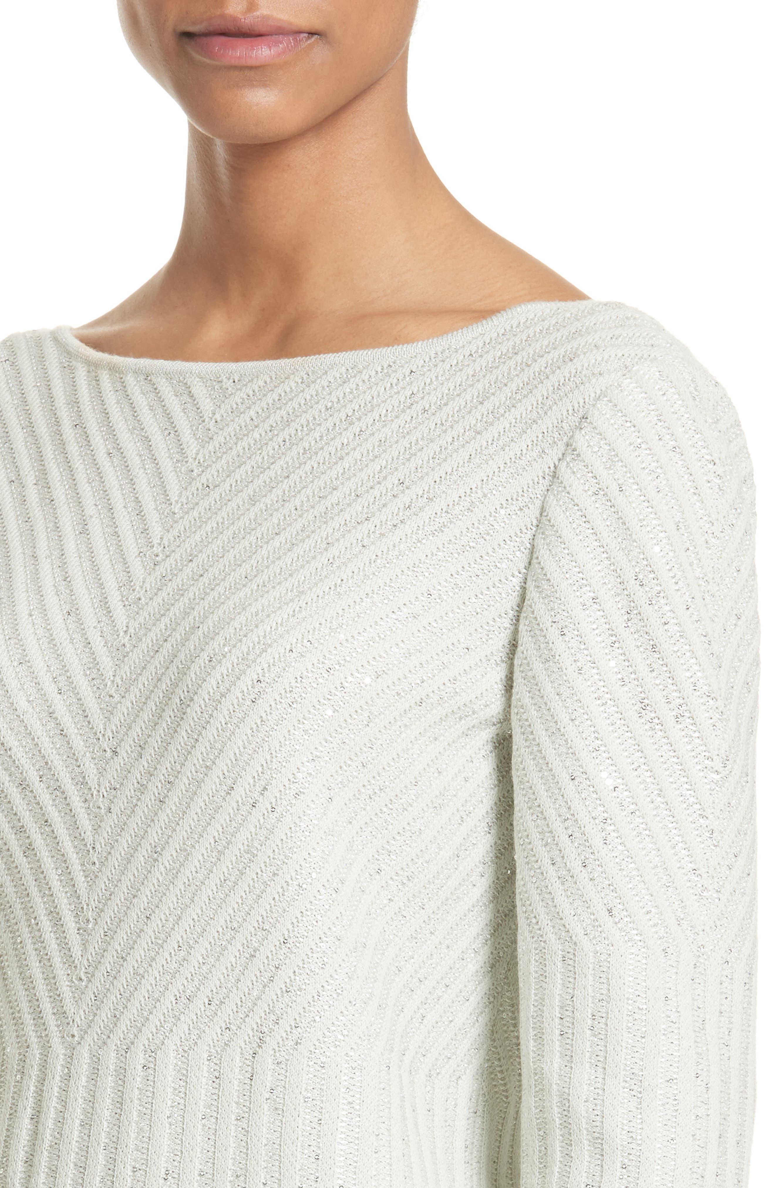 Sparkle Engineered Rib Sweater,                             Alternate thumbnail 4, color,                             Jasmine