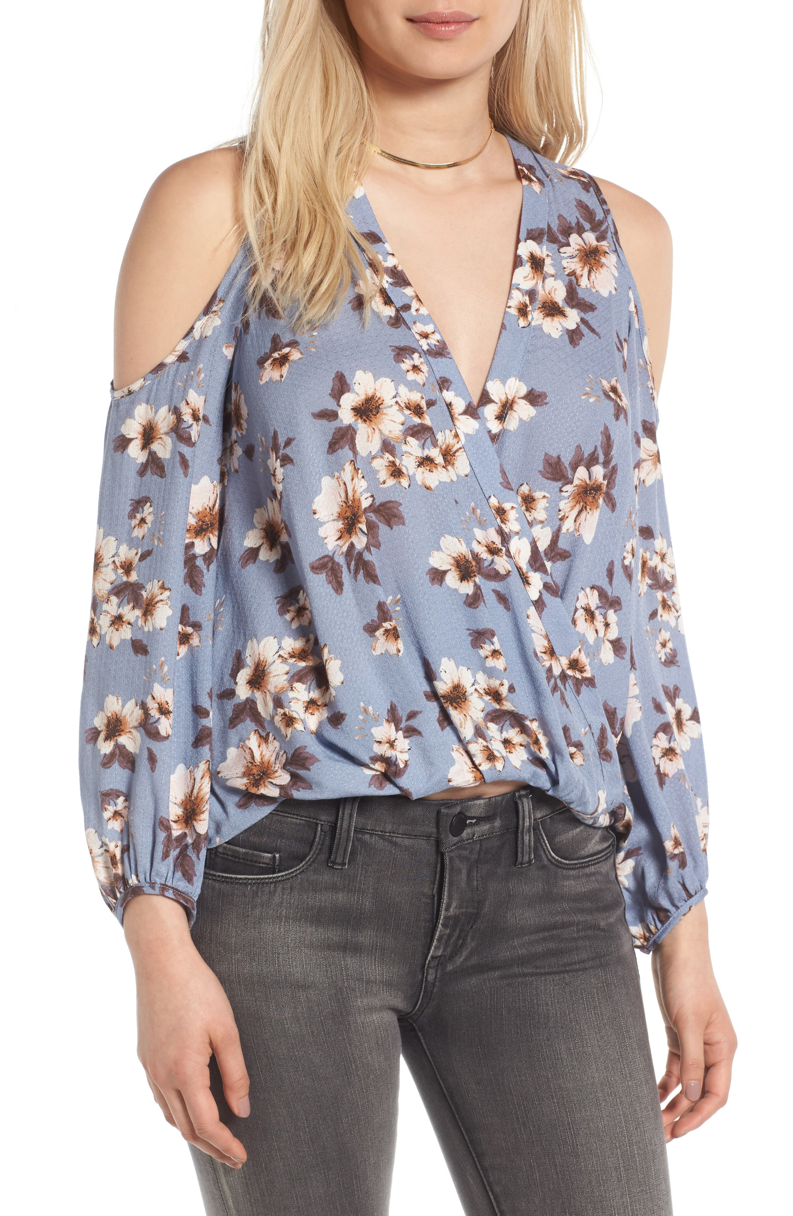 LUSH Surplice Cold Shoulder Blouse