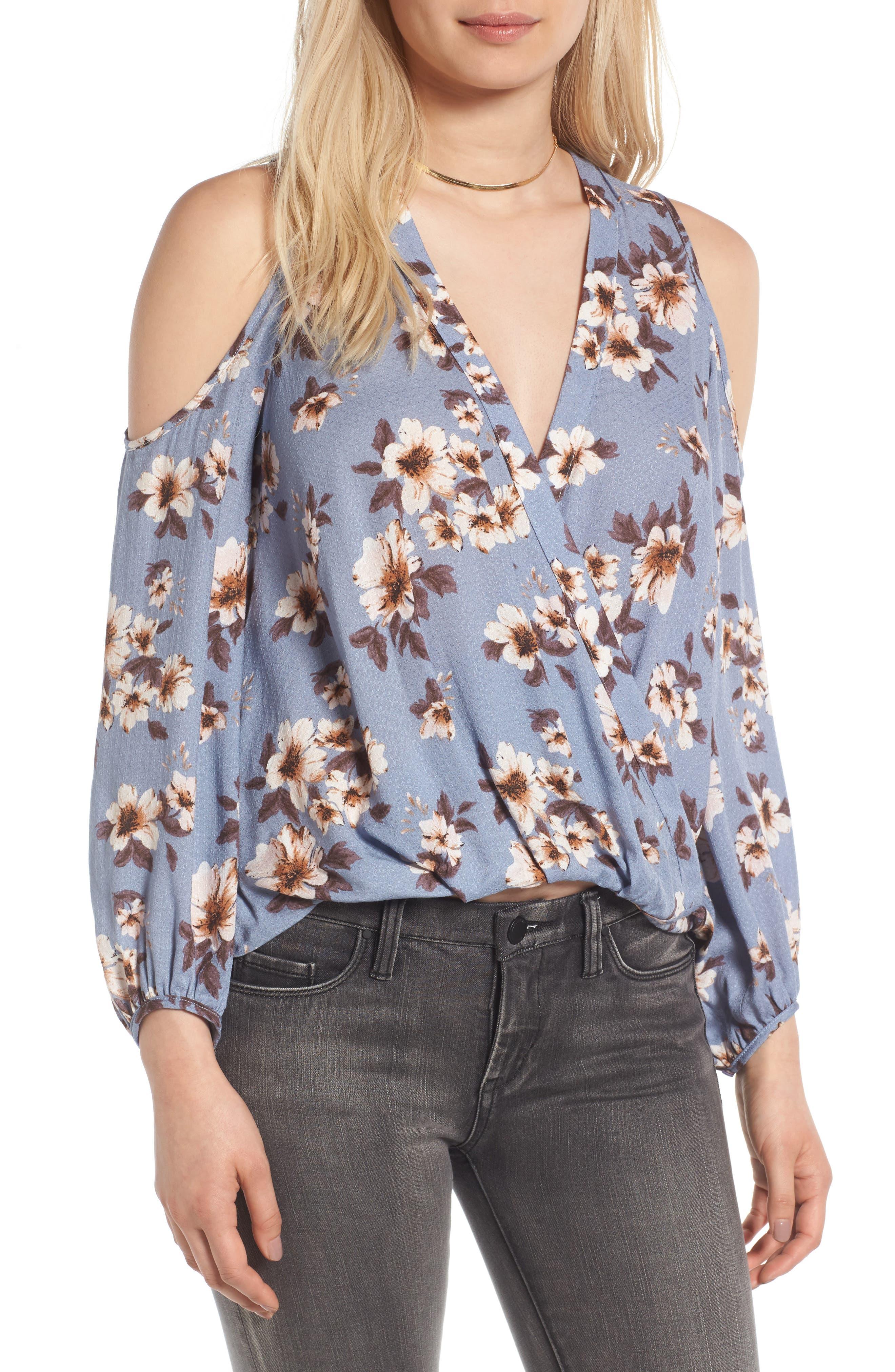 Surplice Cold Shoulder Blouse,                         Main,                         color, Blue Ivory Floral