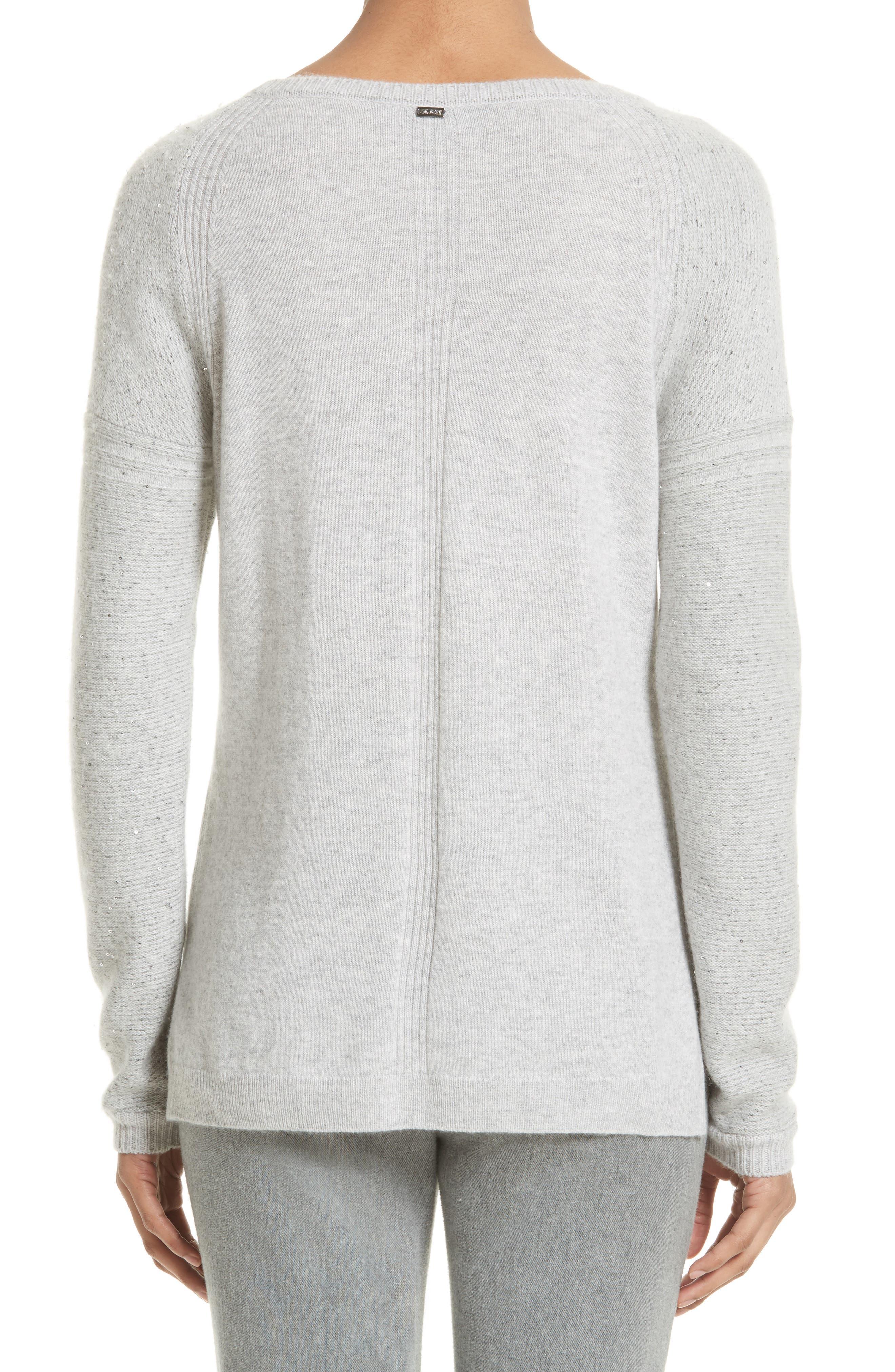 Micro Sequin Stripe Reverse Jersey Cashmere Blend Sweater,                             Alternate thumbnail 2, color,                             Light Grey Melange