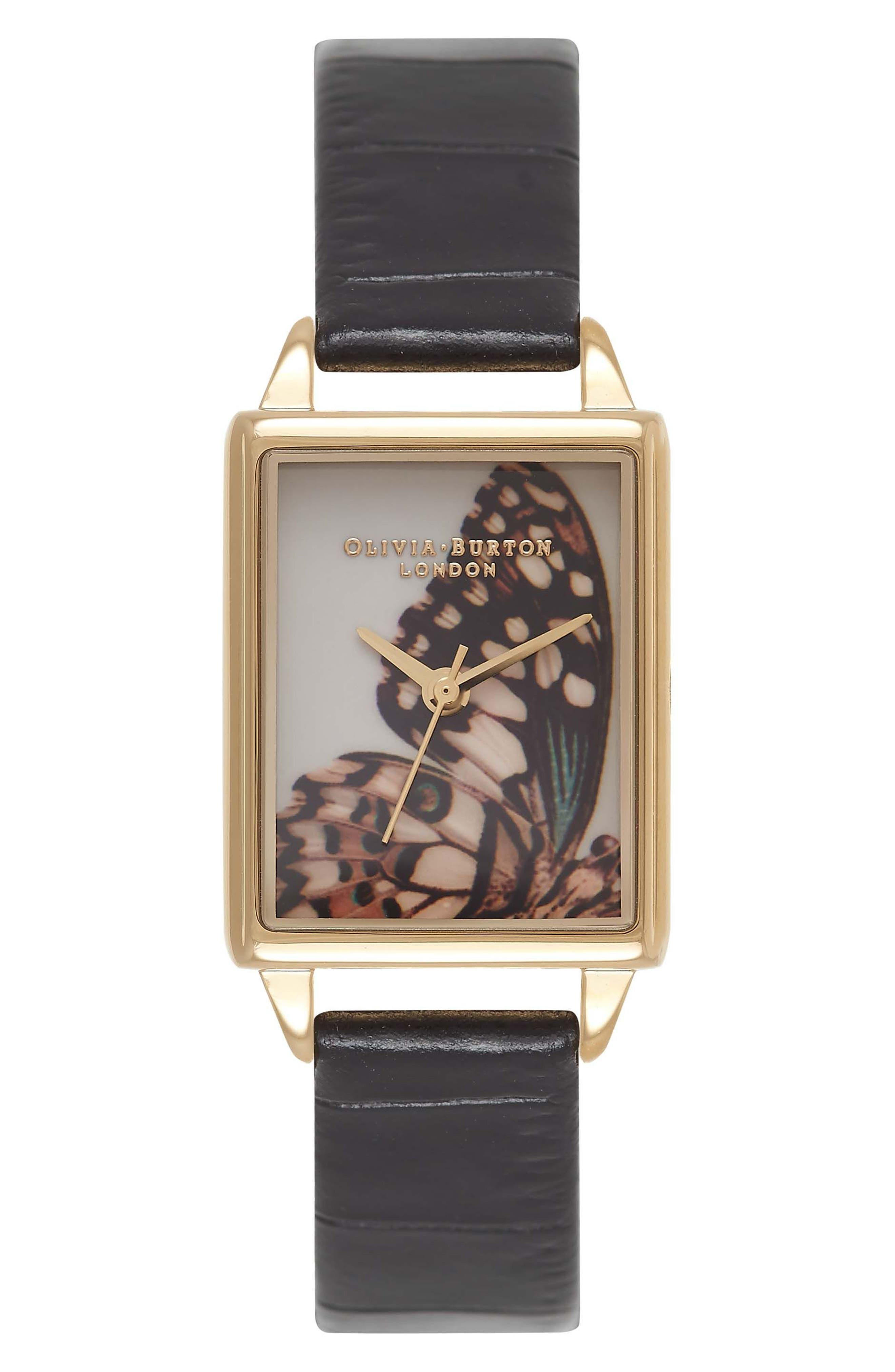 Woodland Tank Leather Strap Watch, 30mm,                         Main,                         color, Black/ Butterfly/ Gold