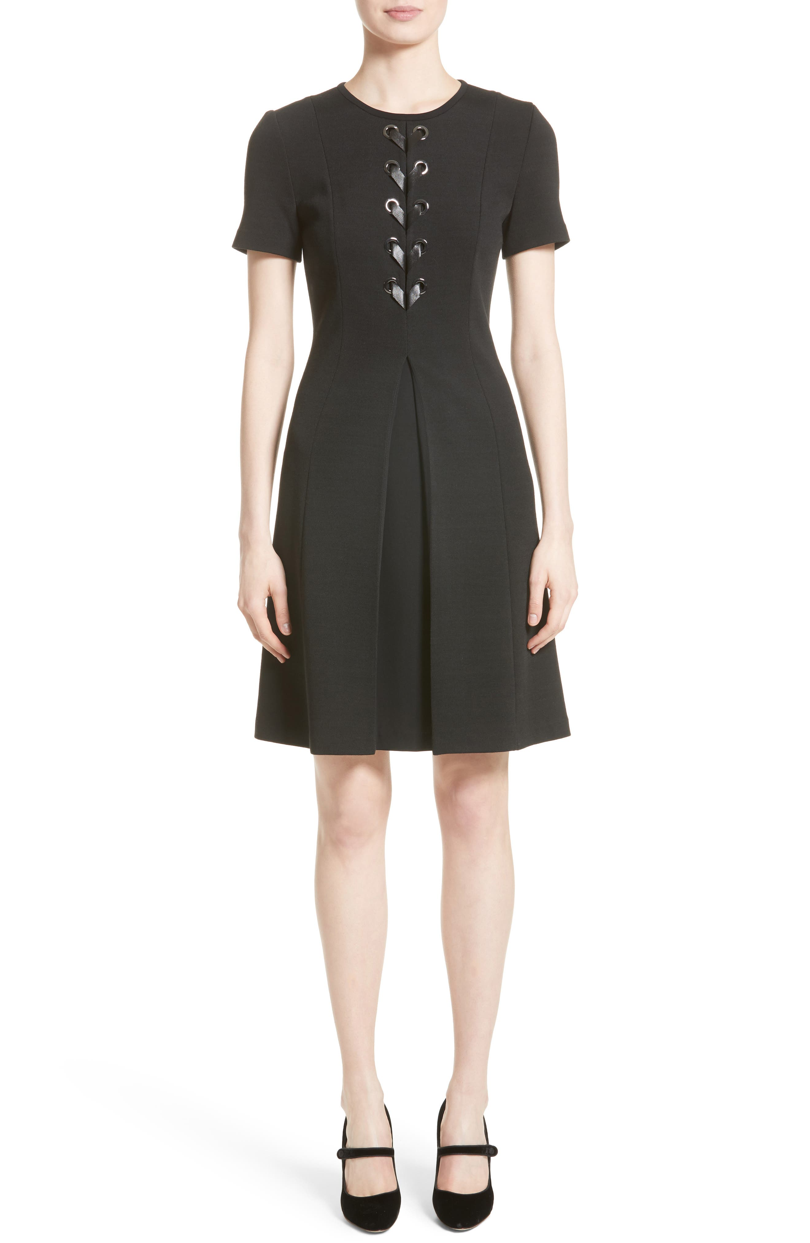 Lace-Up Milano Knit Dress,                         Main,                         color, Caviar