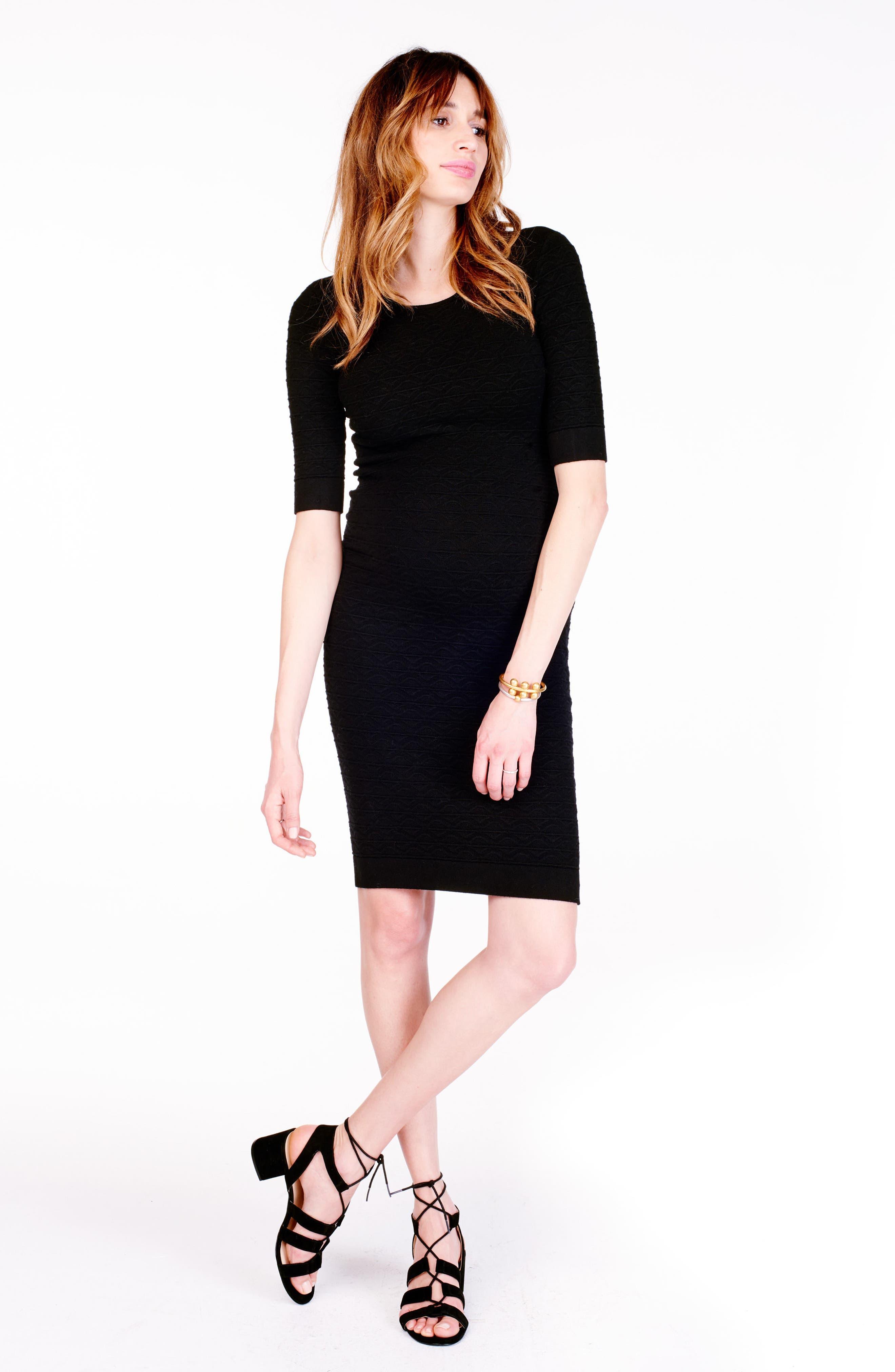 Sweater Knit Maternity Sheath Dress,                             Alternate thumbnail 3, color,                             Jet Black